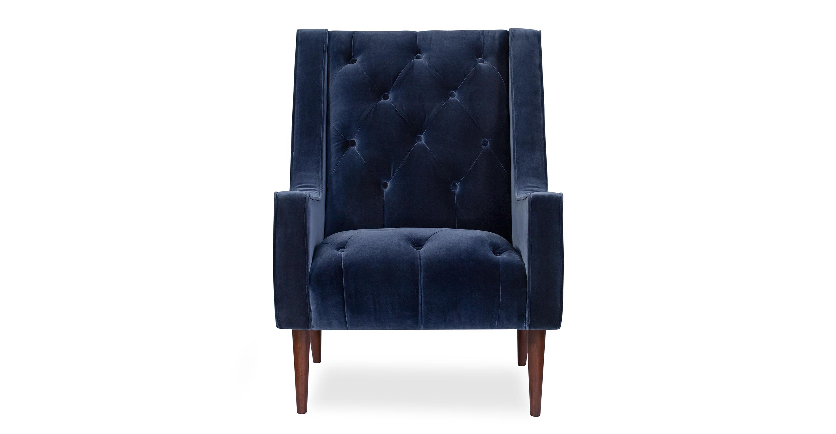"""Krisel 28"""" Fabric Chair, Admiral Velvet"""