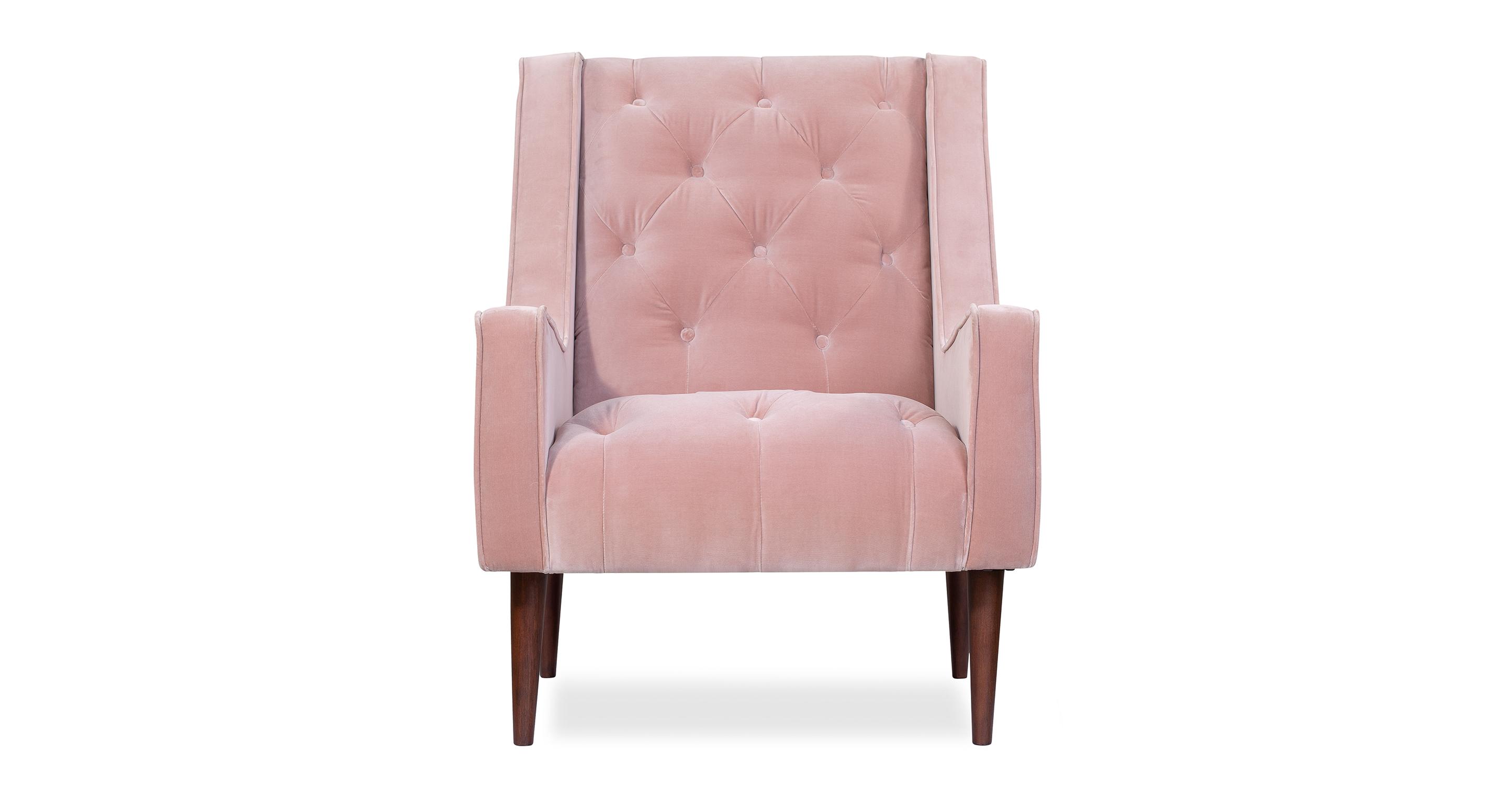 """Krisel 27"""" Fabric Chair, Rose Velvet"""