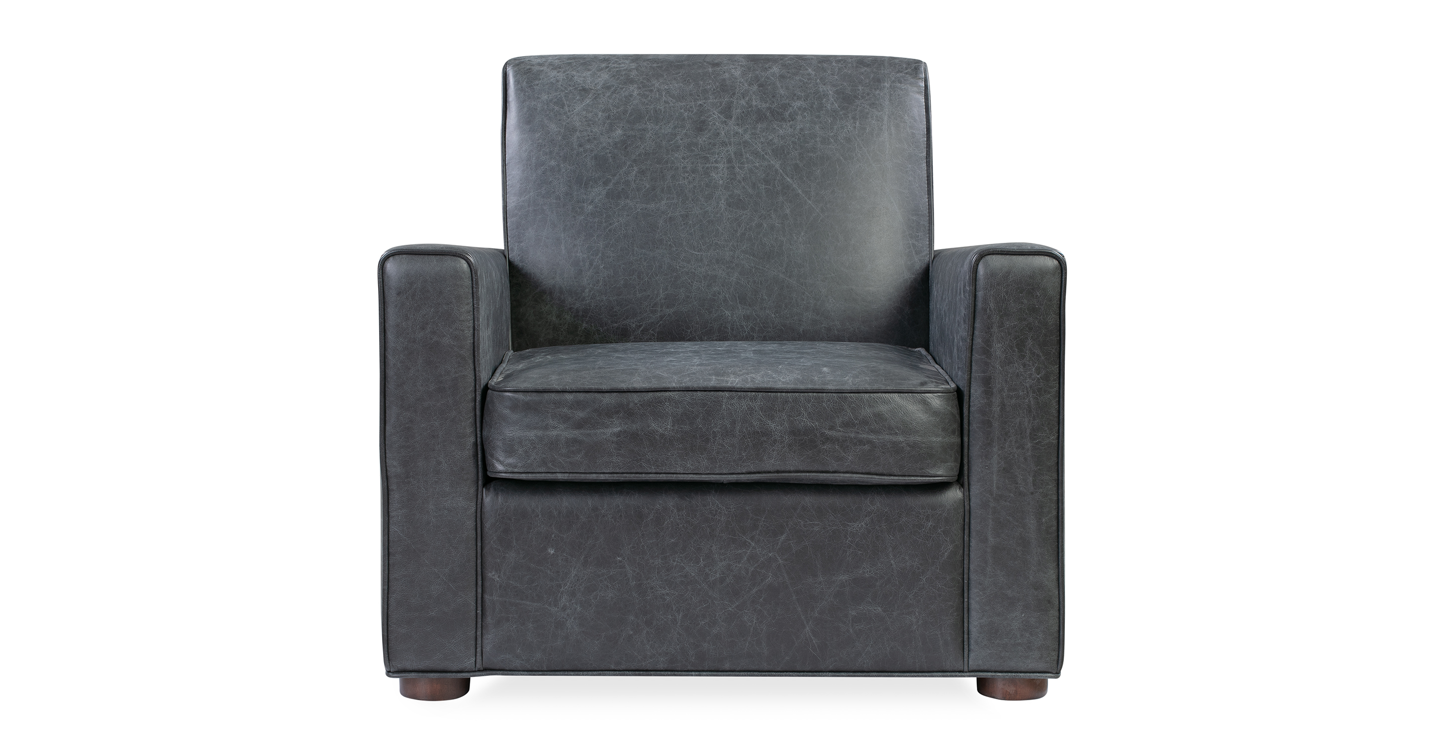 """Maxwell 34"""" Leather Chair, Napoli Black"""