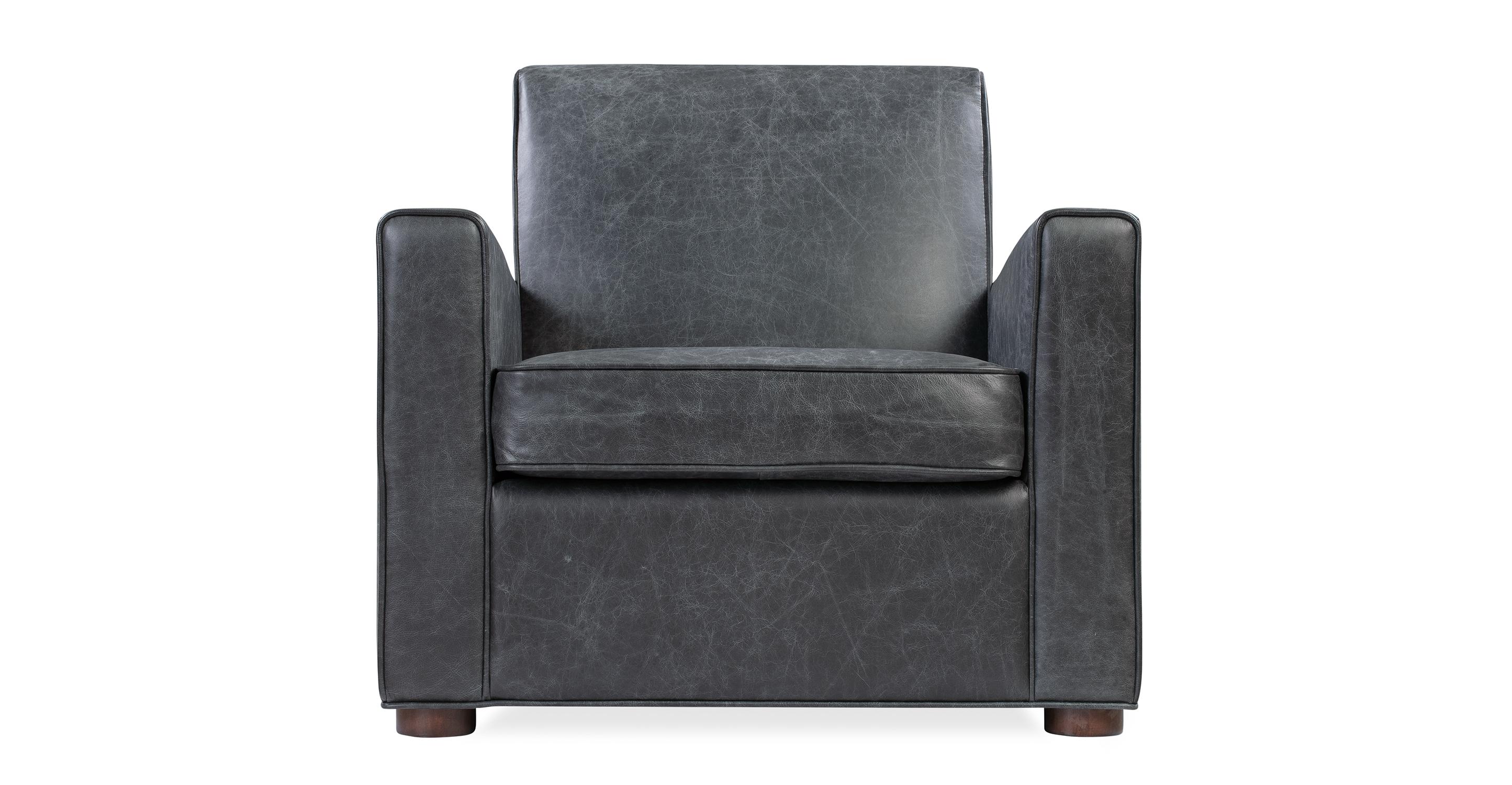 "Maxwell 35"" Leather Chair, Black Top Grain Full Aniline"
