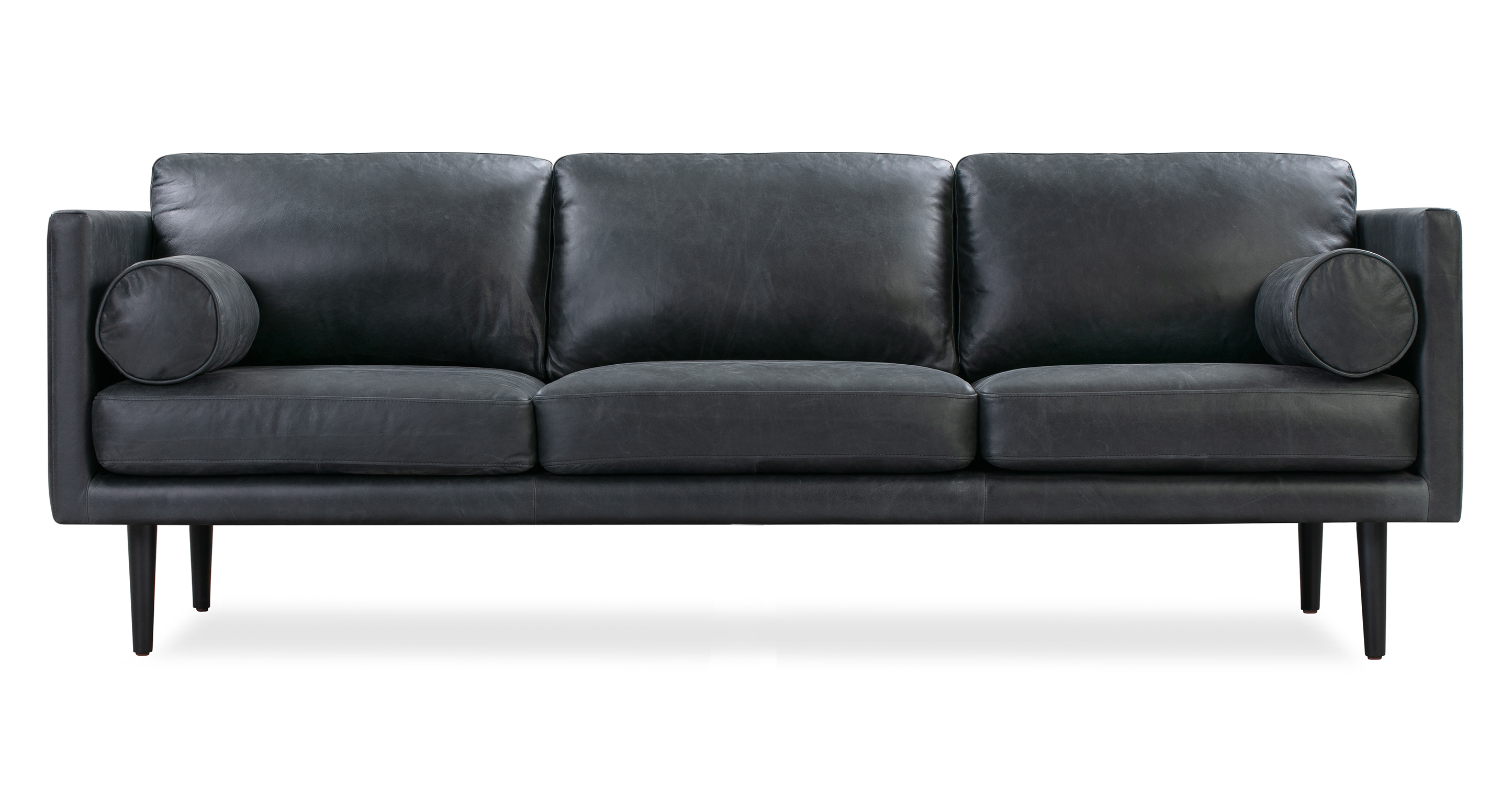 "Spectre 81"" Leather Sofa, Milano Black"