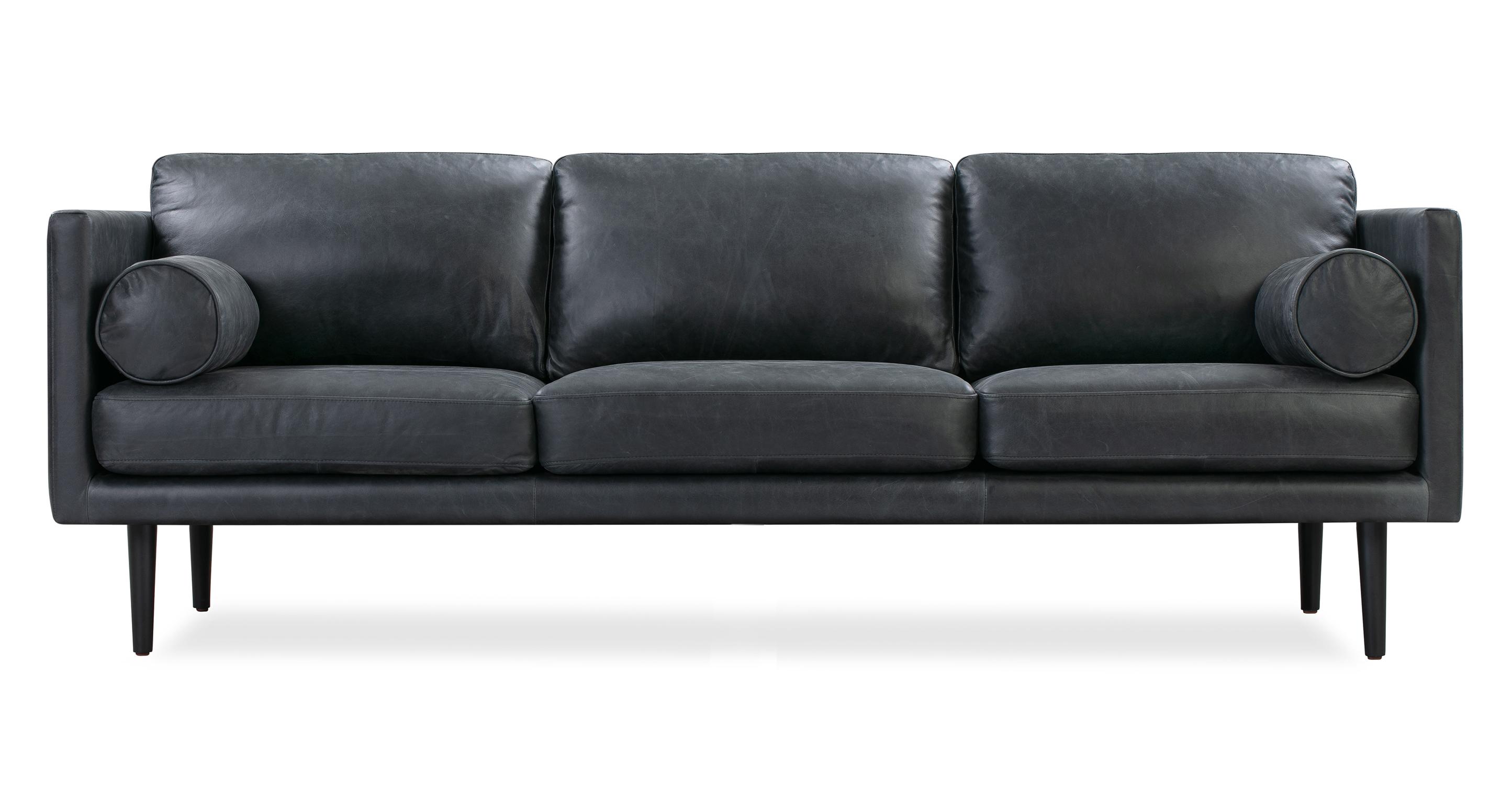 "Spectre 81"" Leather Sofa, Milano Black"