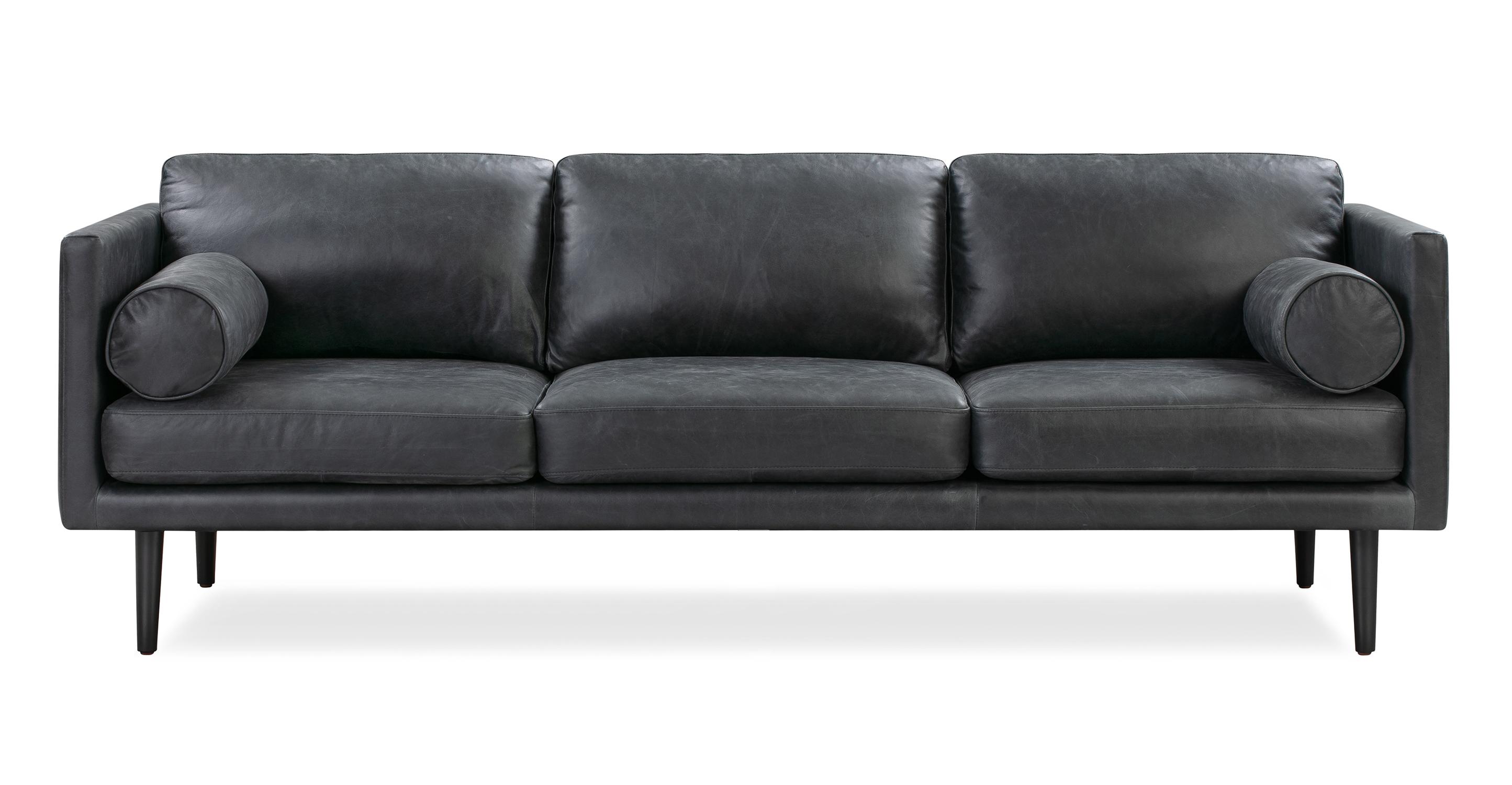 "Spectre 81"" Leather Sofa, Black Top Grain Full Aniline"