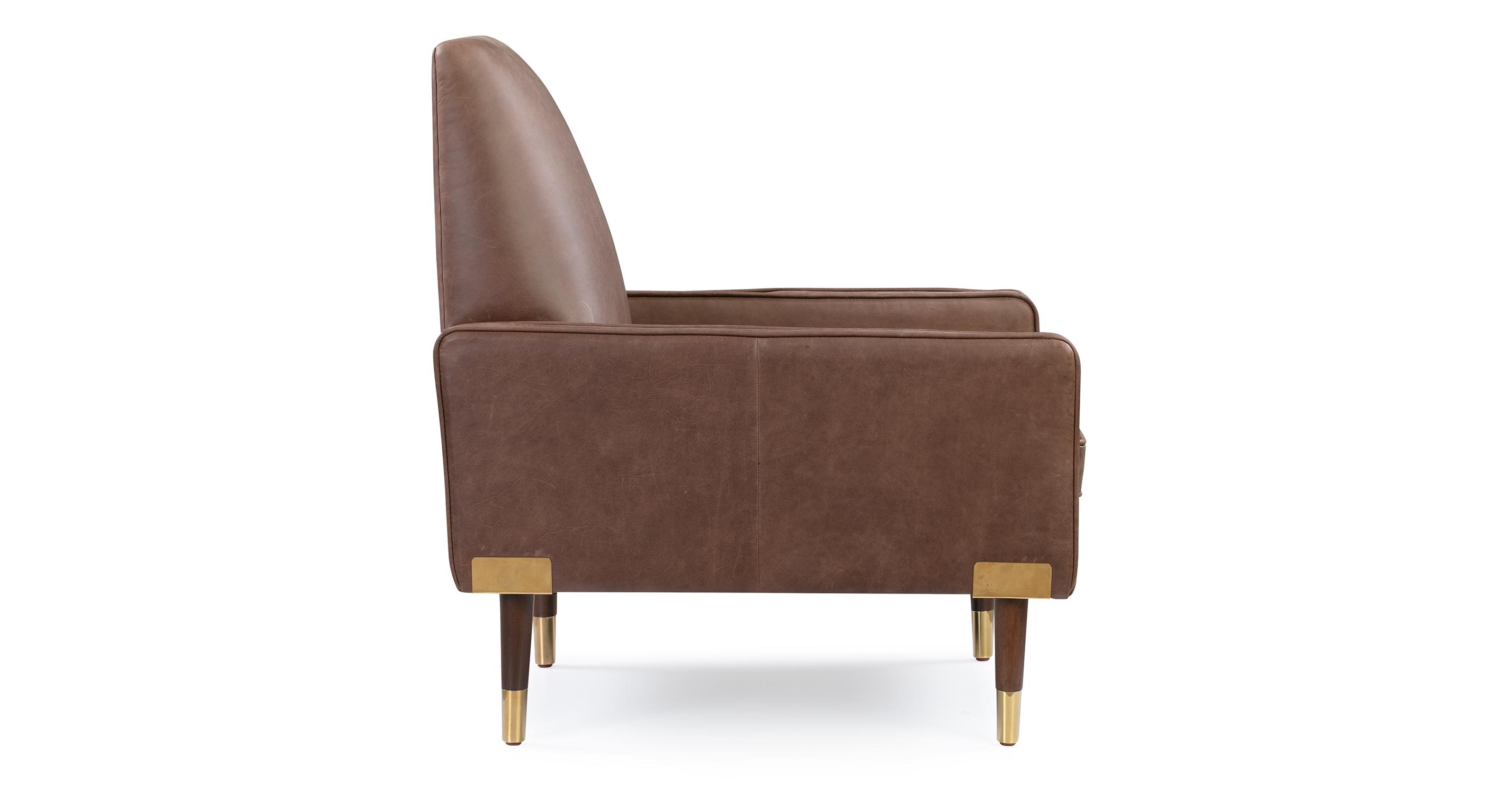 "Draper 27"" Leather Chair, Mocha Top Grain Full Aniline"