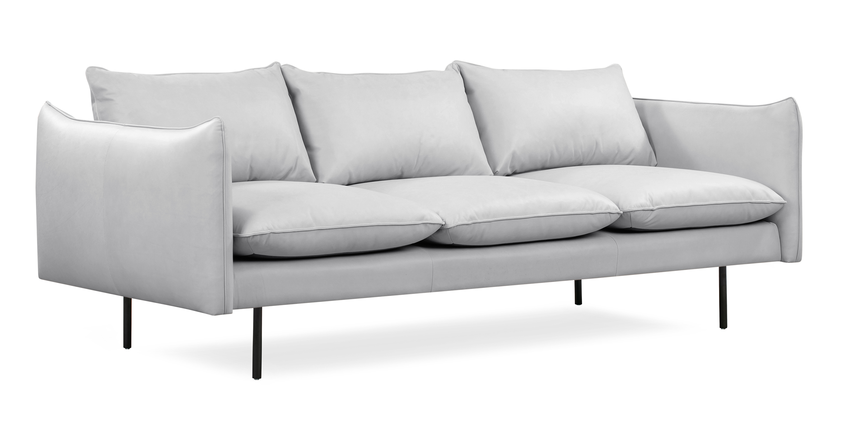 "Oscar 87"" Leather Sofa, Pumice Top Grain Full Aniline"