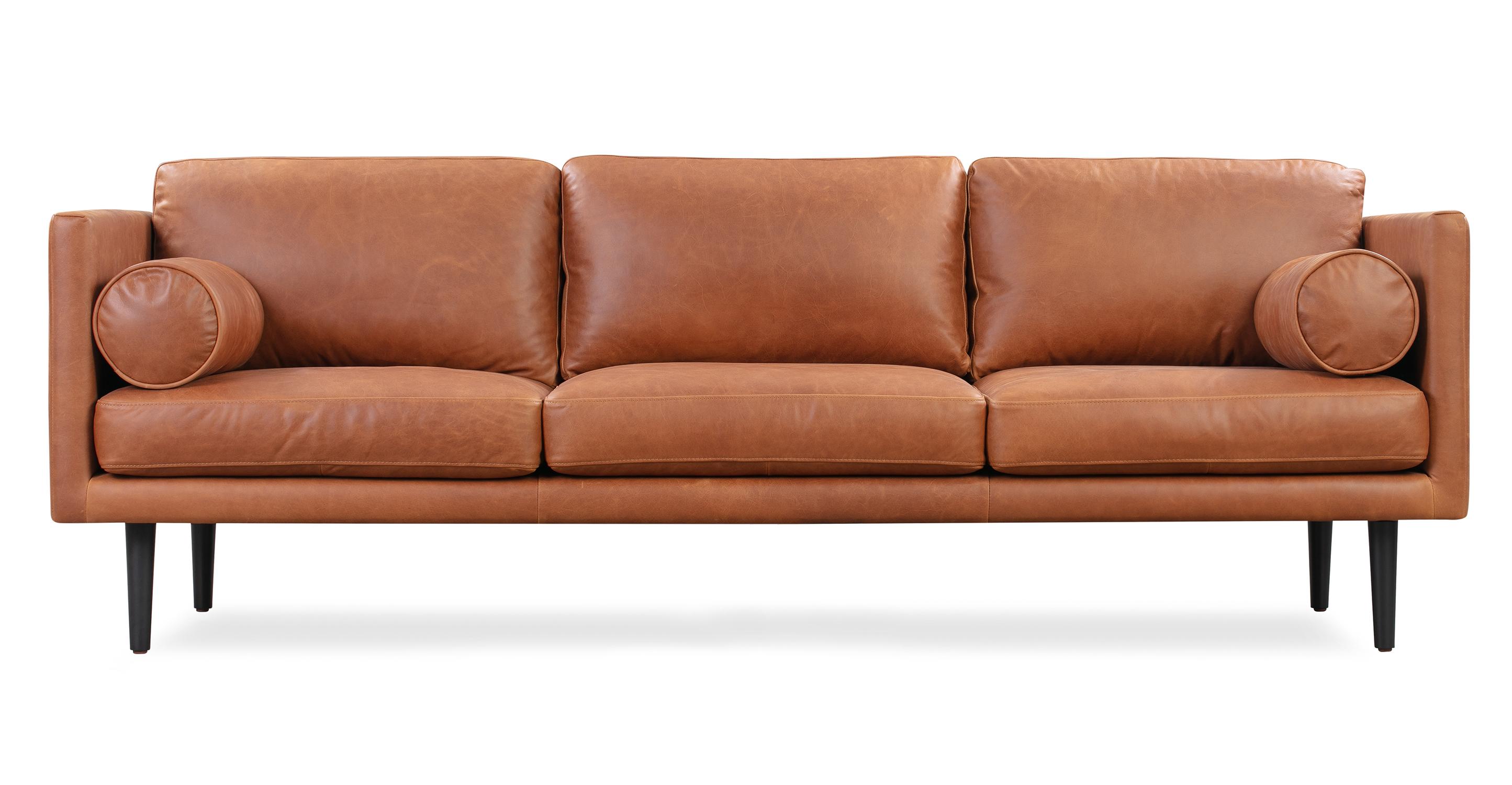 "Spectre 81"" Leather Sofa, Milano Cigar"