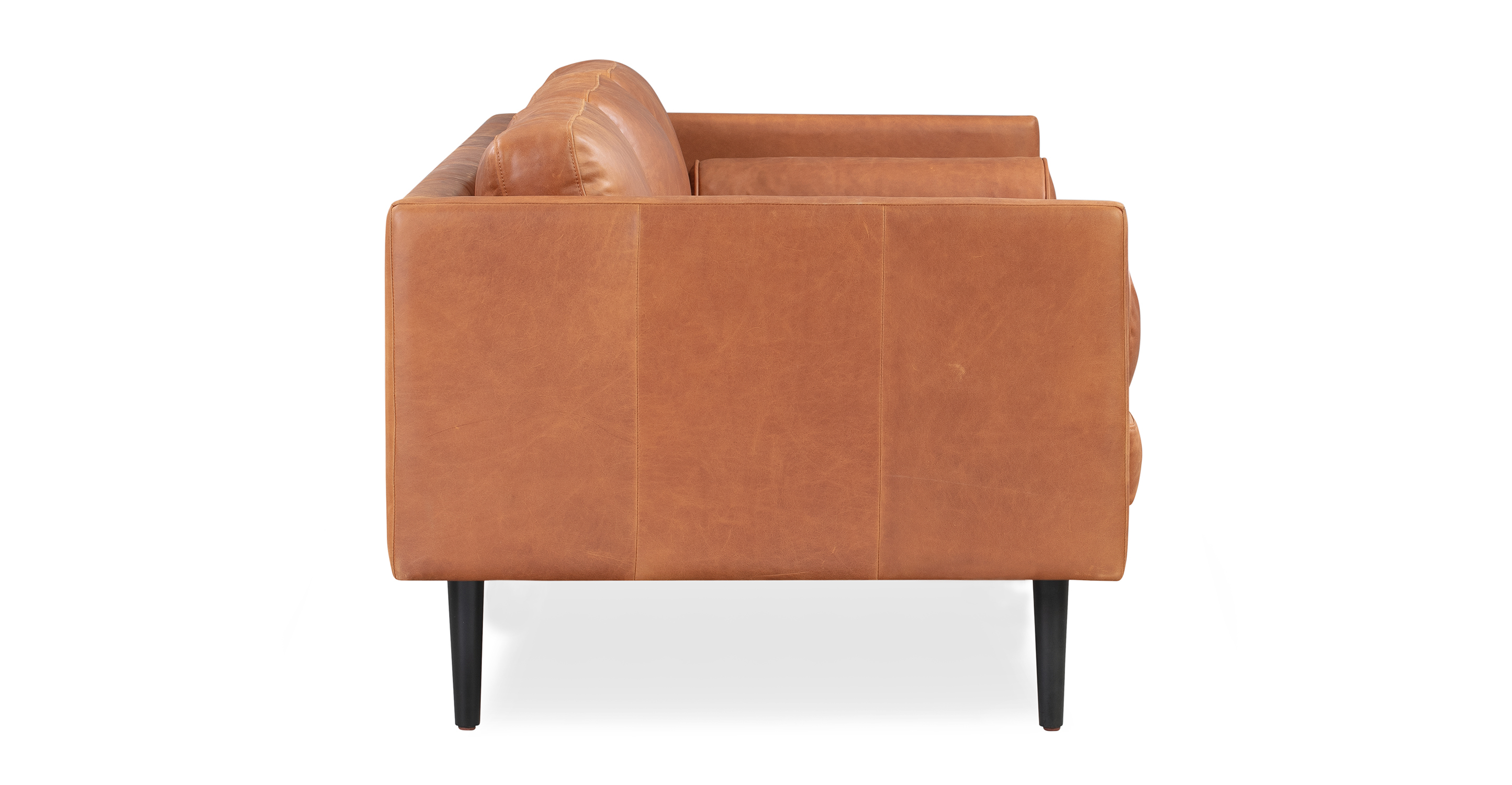 "Spectre 81"" Leather Sofa, Cigar Top Grain Full Aniline"