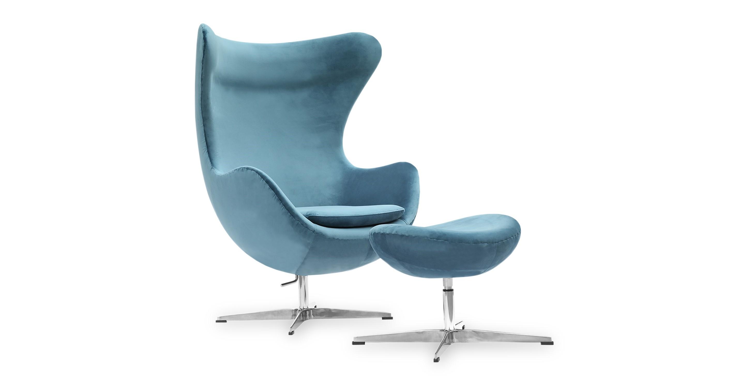 Amoeba Swivel Fabric Chair & Ottoman, Blue Nile Velvet