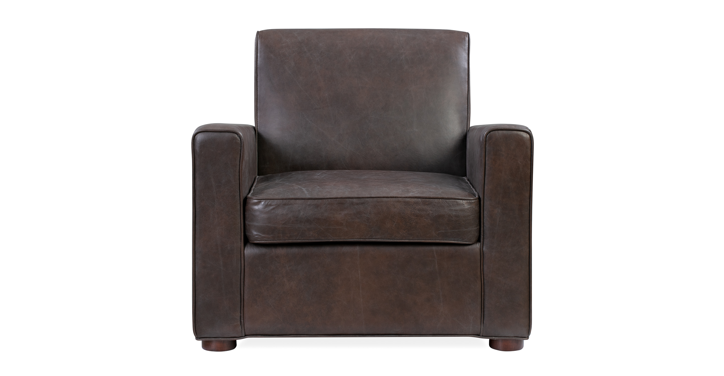 "Maxwell 34"" Leather Chair, Brown Top Grain Semi Aniline"