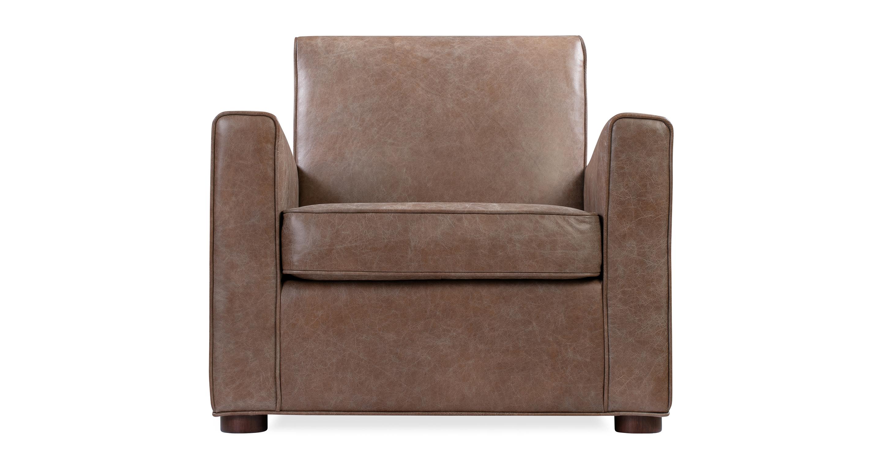 "Maxwell 34"" Leather Chair, Tan Top Grain Semi Aniline"