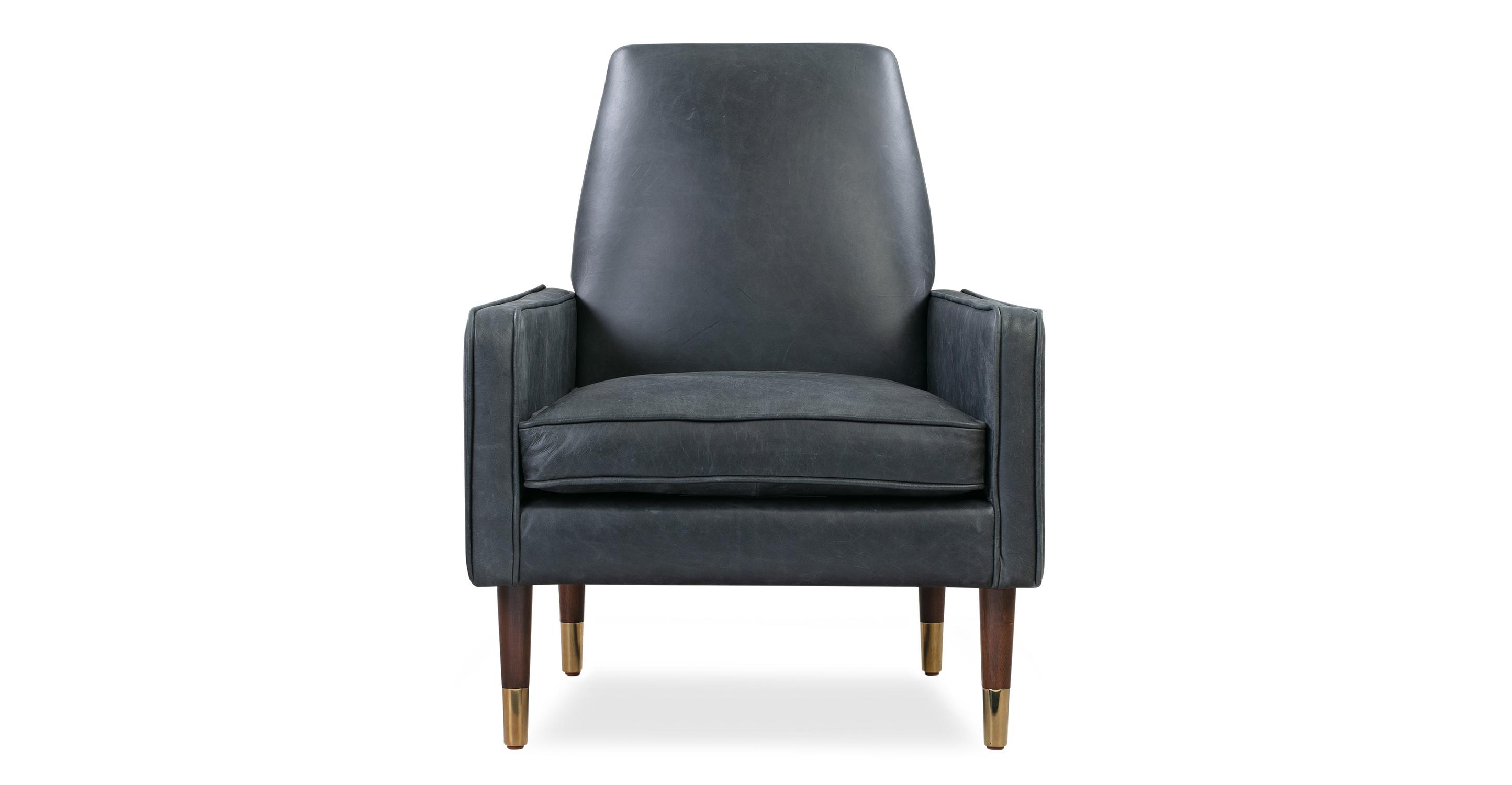 "Draper 28"" Leather Chair, Black Top Grain Full Aniline"