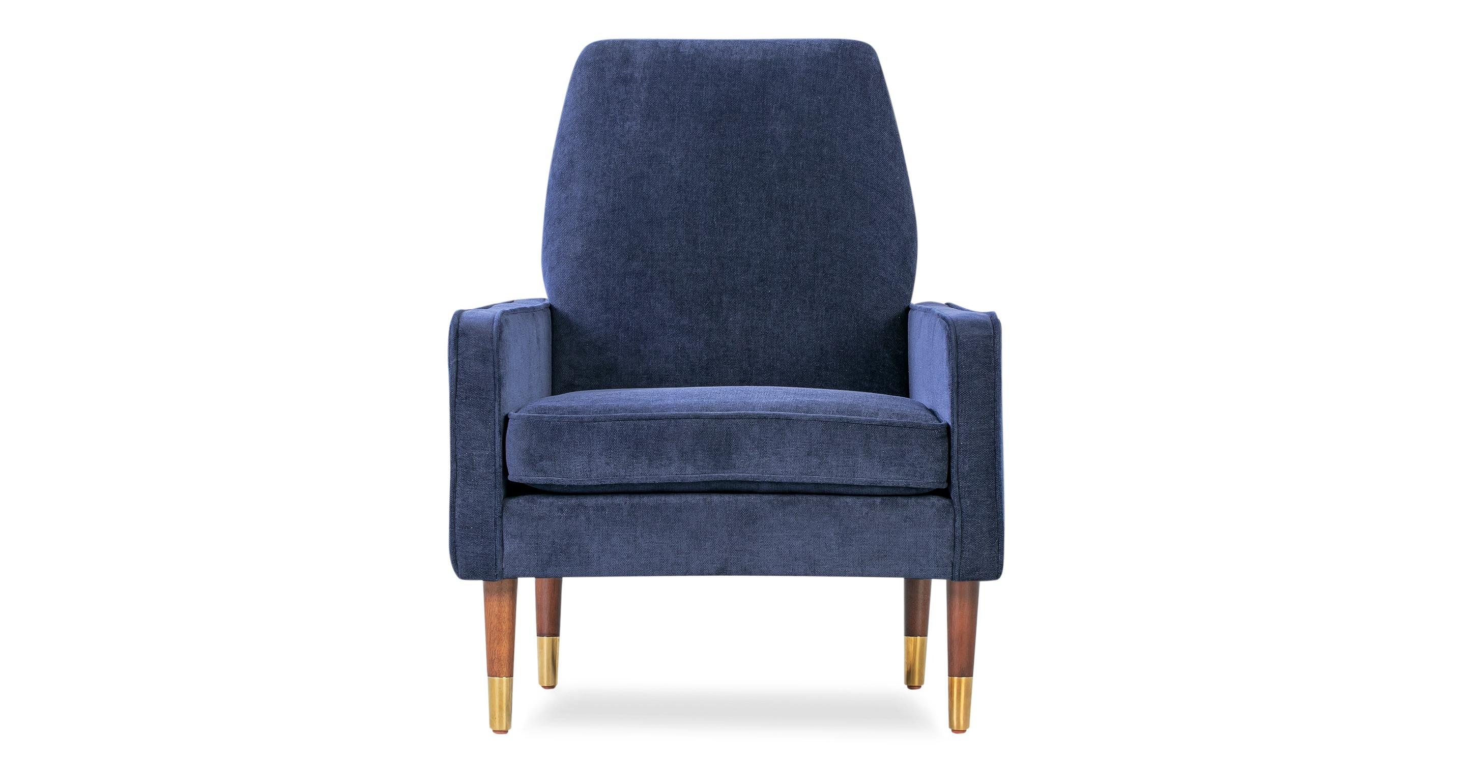 """Draper 28"""" Fabric Chair, Sapphire Velvet"""