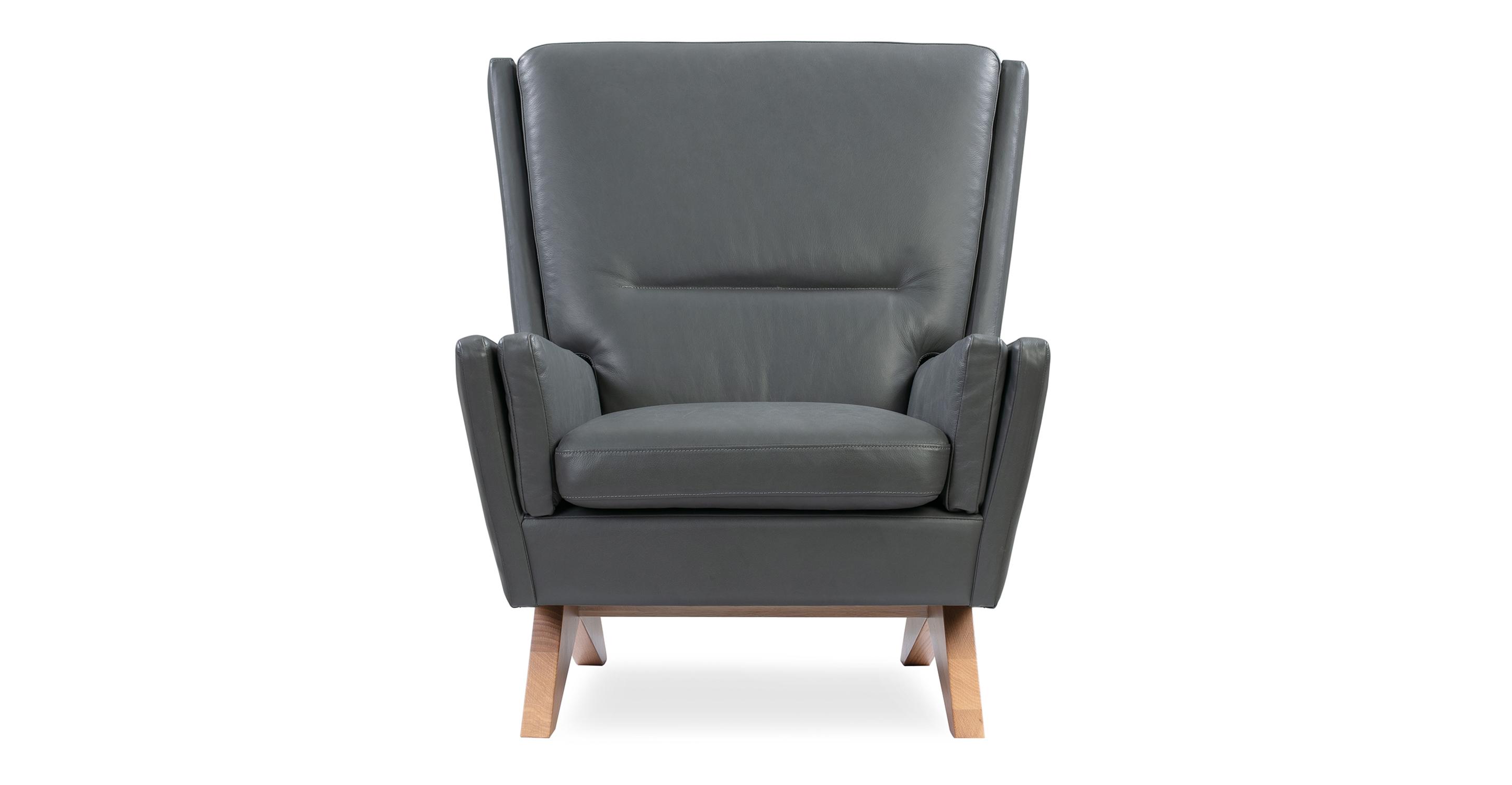 """Brasilia 30"""" Leather Chair, Napoli Grey"""