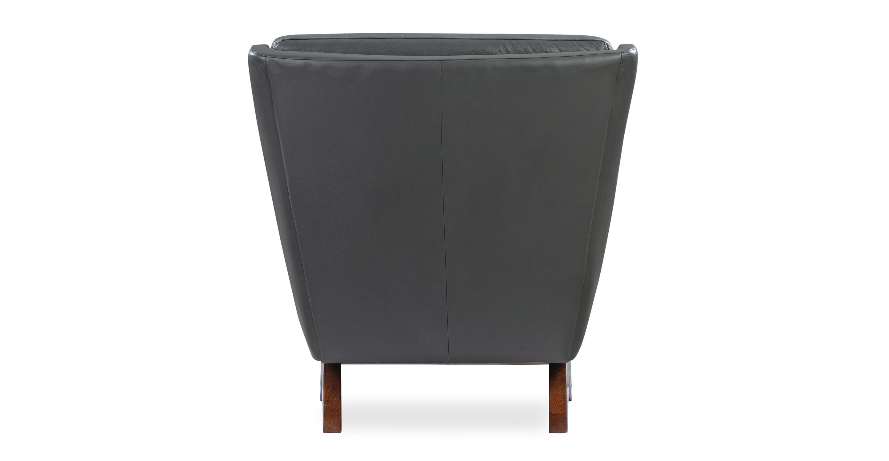 "Brasilia 30"" Leather Chair, Grey Top Grain Semi Aniline"