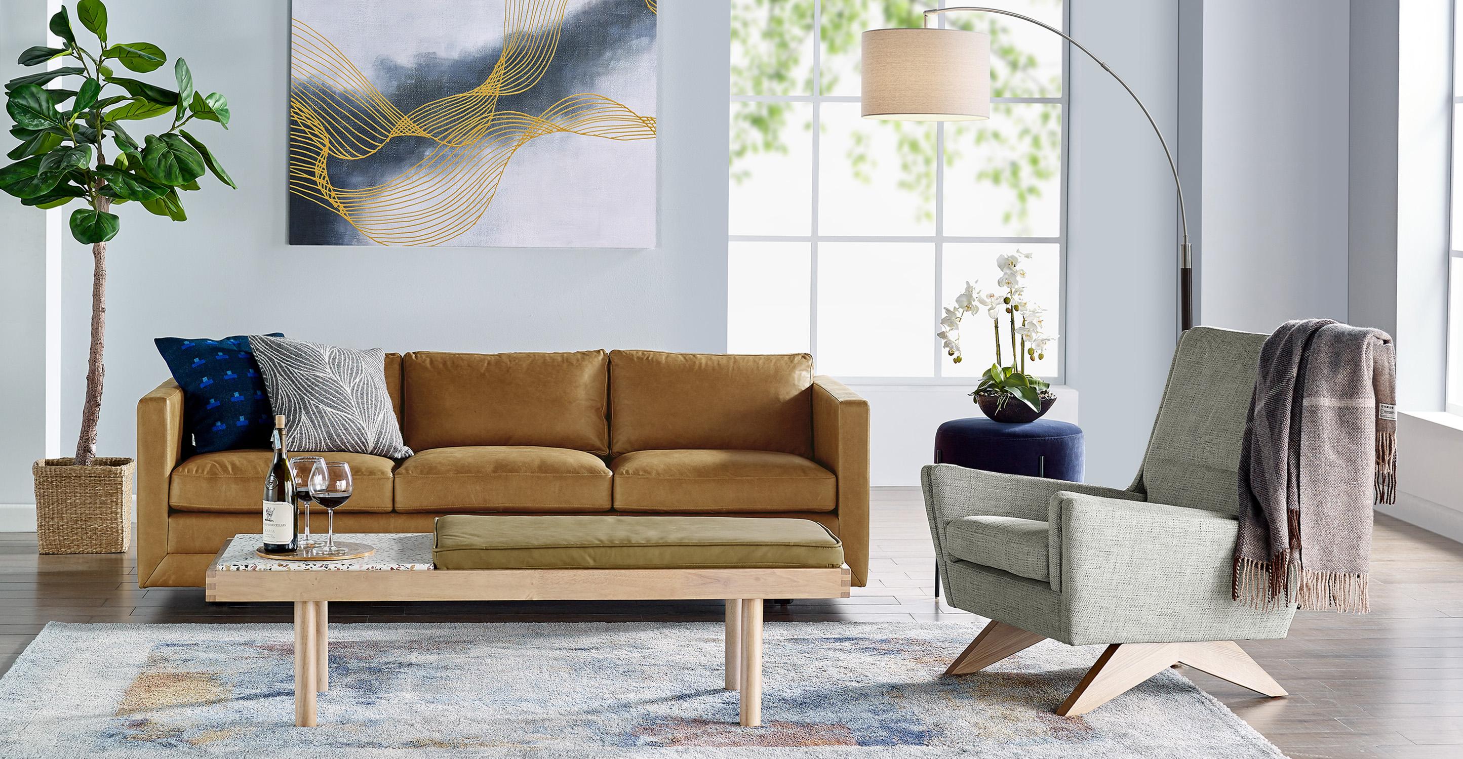 "Brasilia 30"" Leather Chair, Mocha Top Grain Semi Aniline"