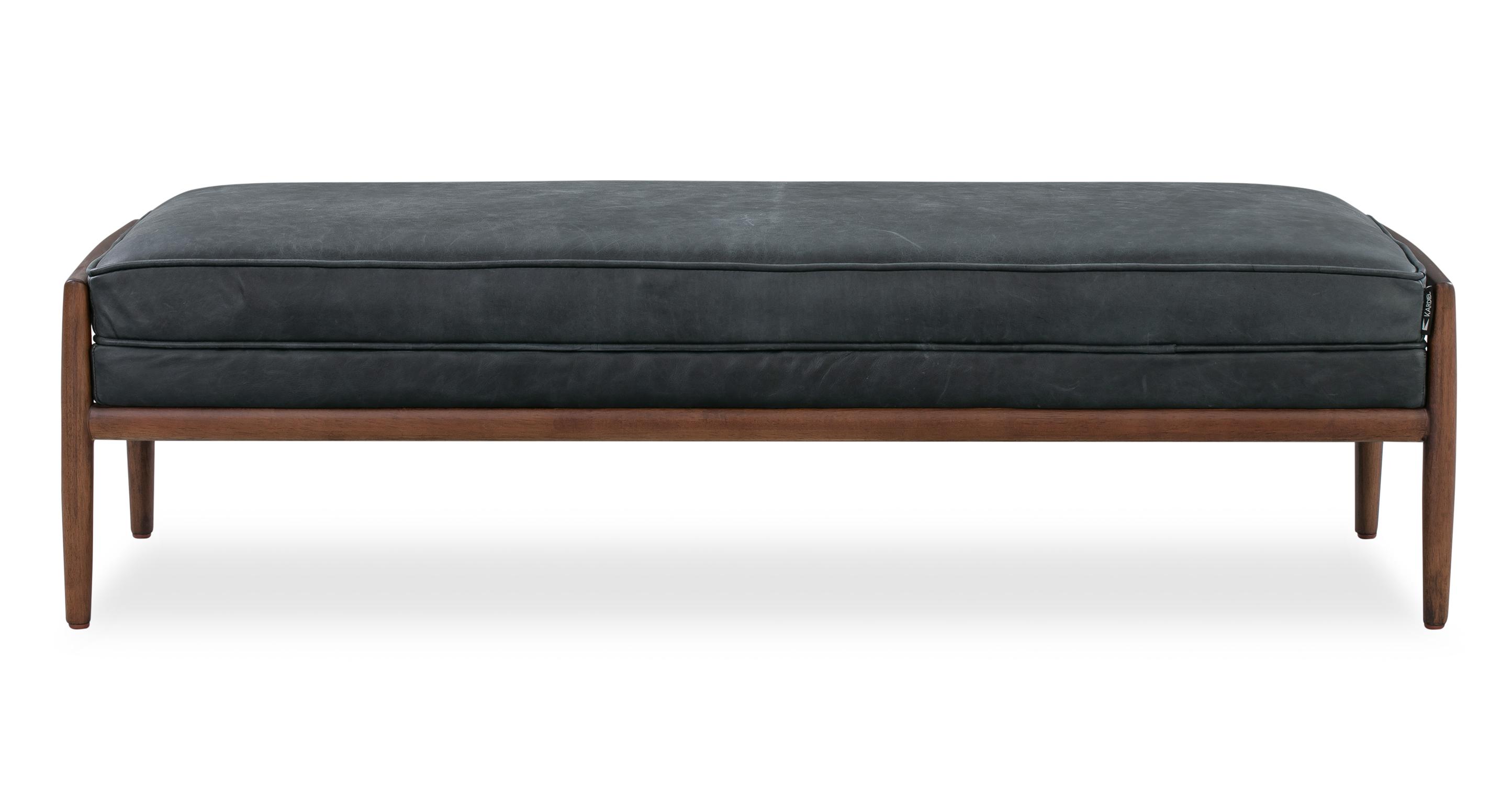"Fritz 55"" Leather Bench, Walnut/Milano Black"