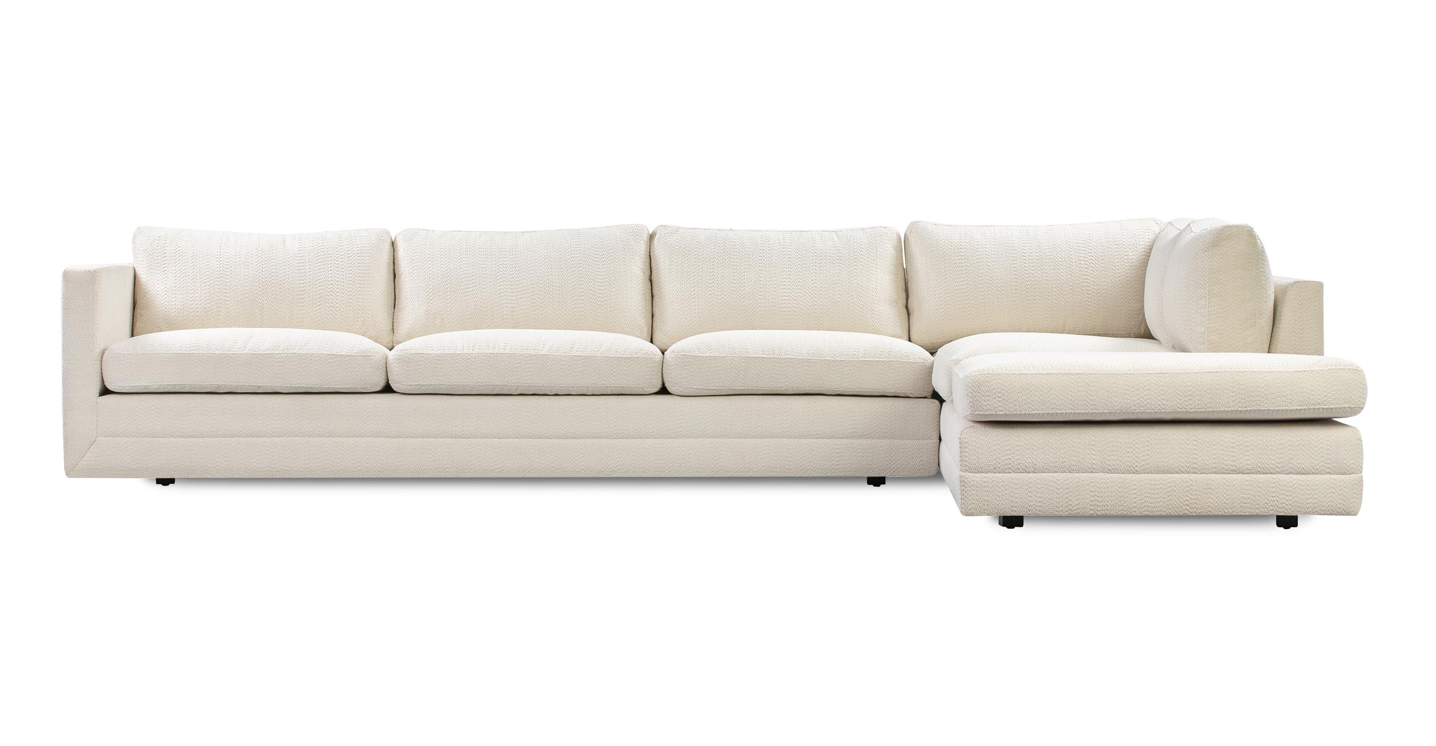 "Manhattan 129"" Fabric Sofa Sectional Right, Cream Atomic"
