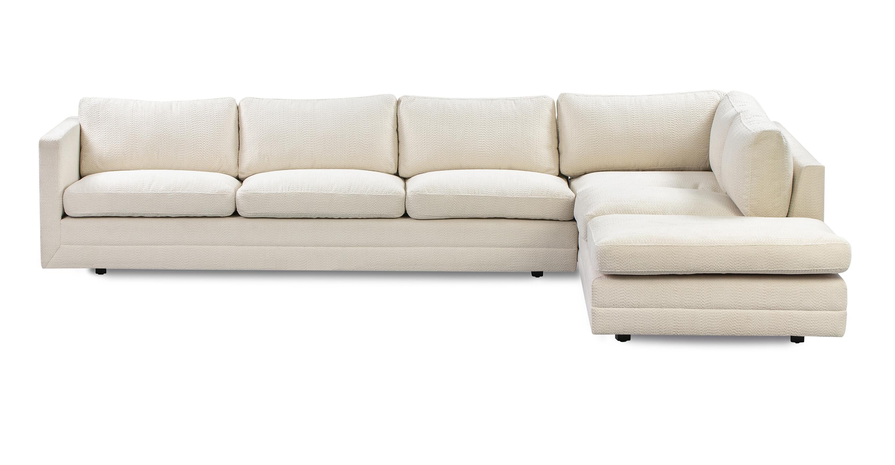 "Manhattan 129"" Sofa Sectional Right, Cream Atomic"