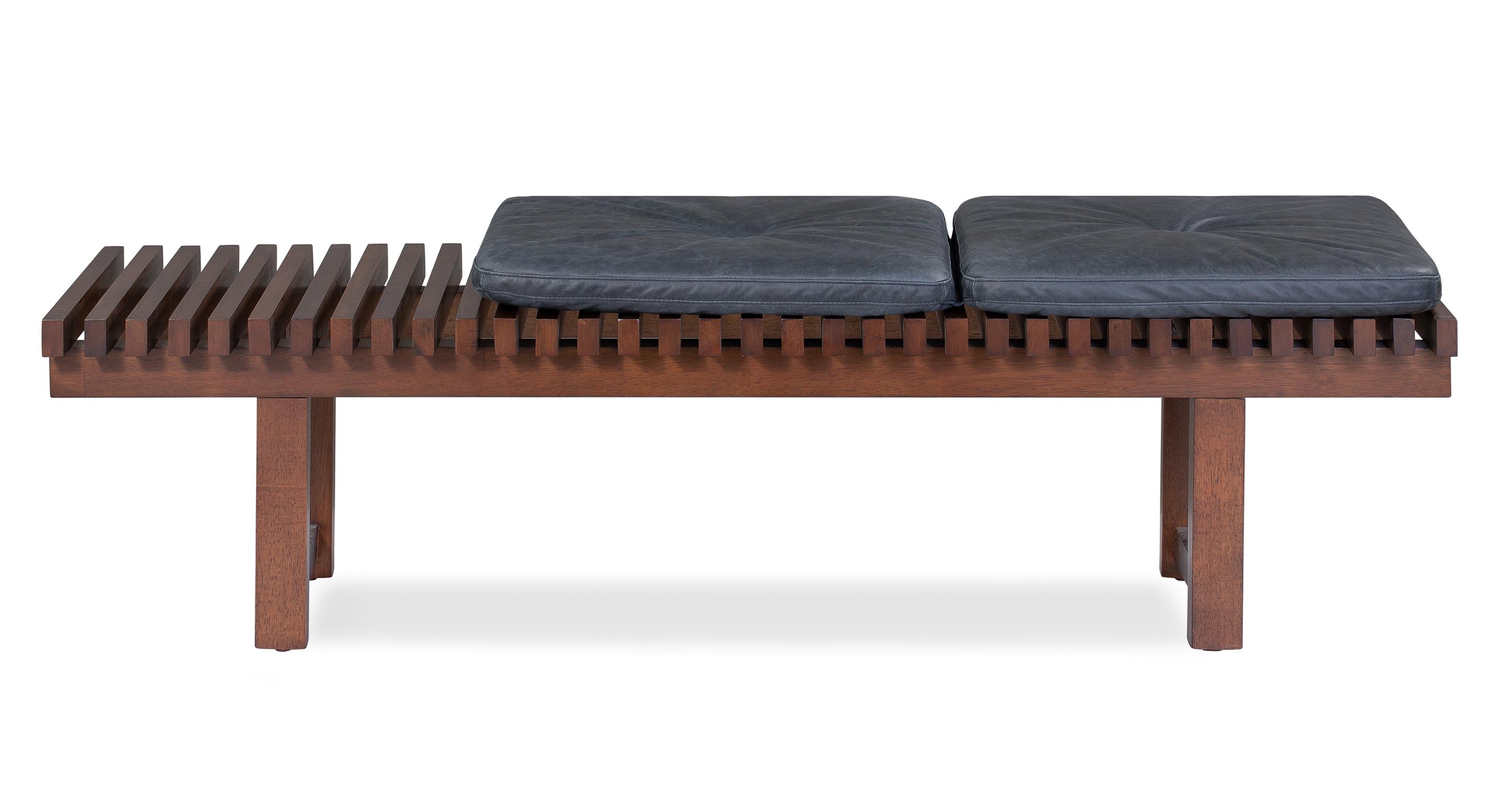 "Slat 42"" Leather Bench, Black Top Grain Full Aniline Leather"