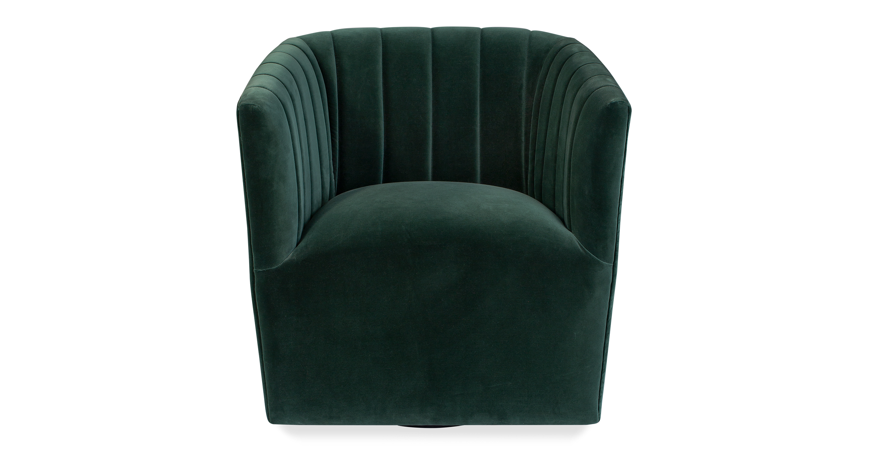 "Tubby 26"" Fabric Swivel Chair, Emerald Velvet"