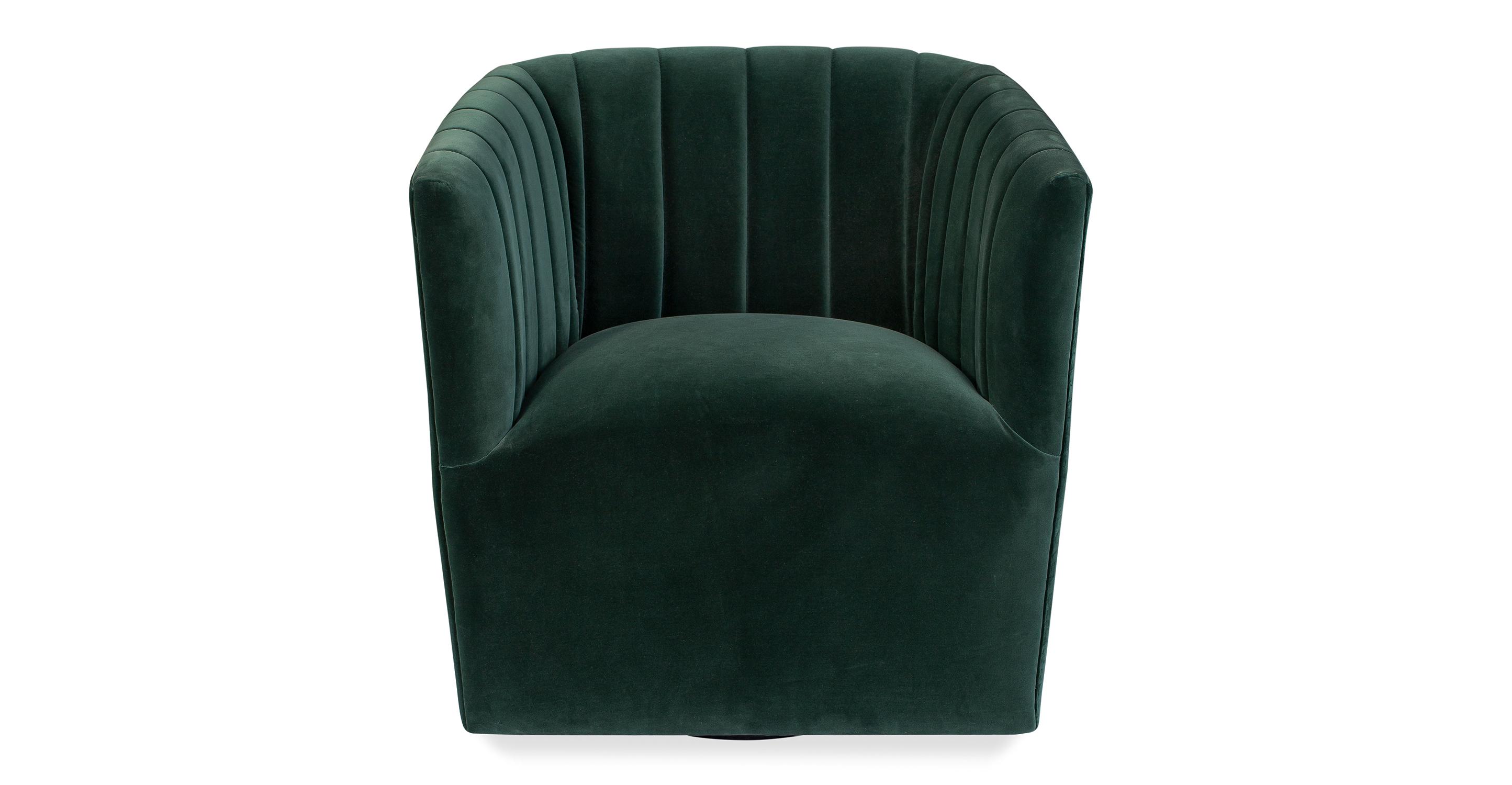"""Tubby 26"""" Fabric Swivel Chair, Emerald Velvet"""