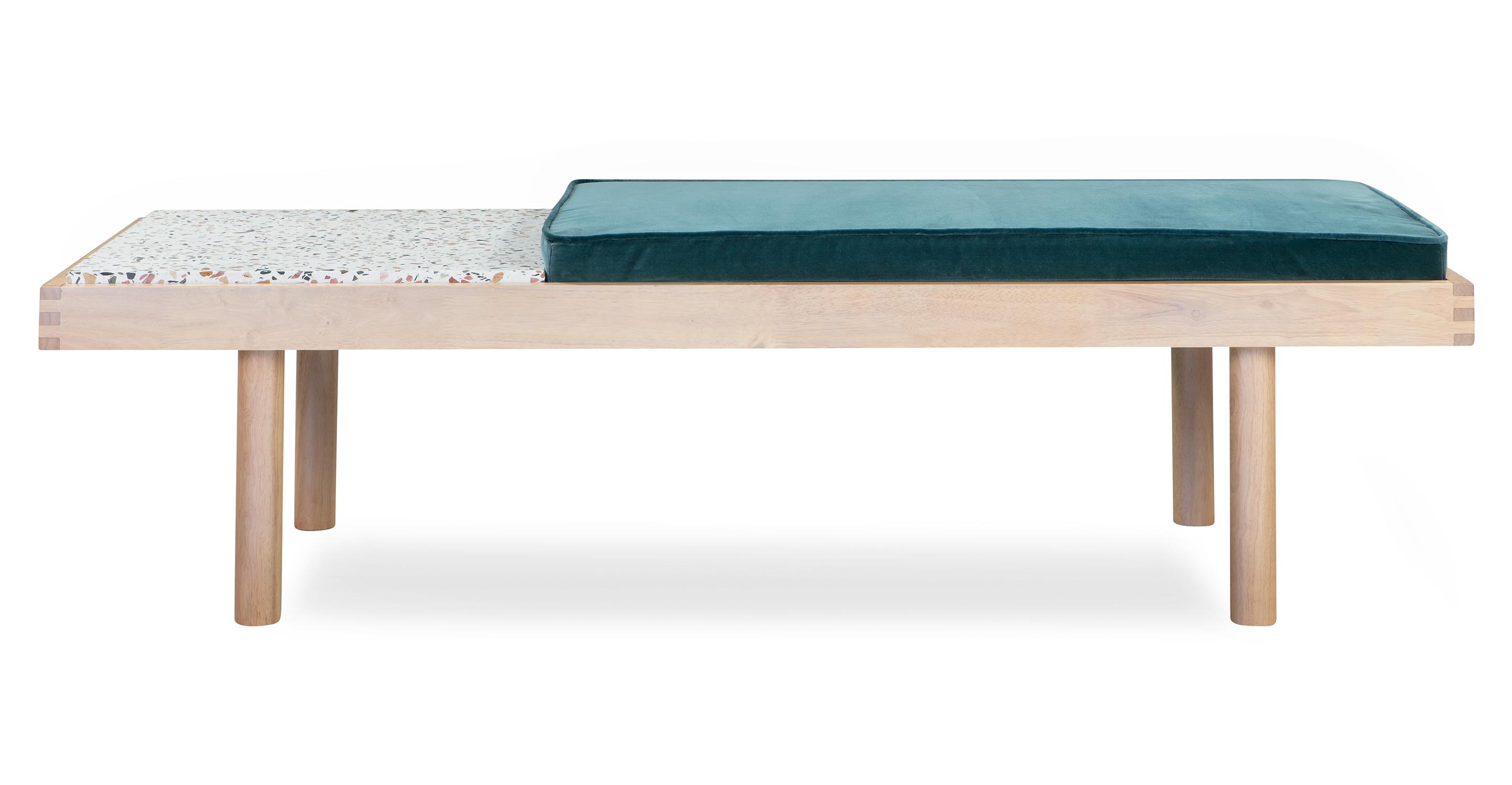 "Teraz 59"" Fabric Bench, Natural/Tranquil Velvet"