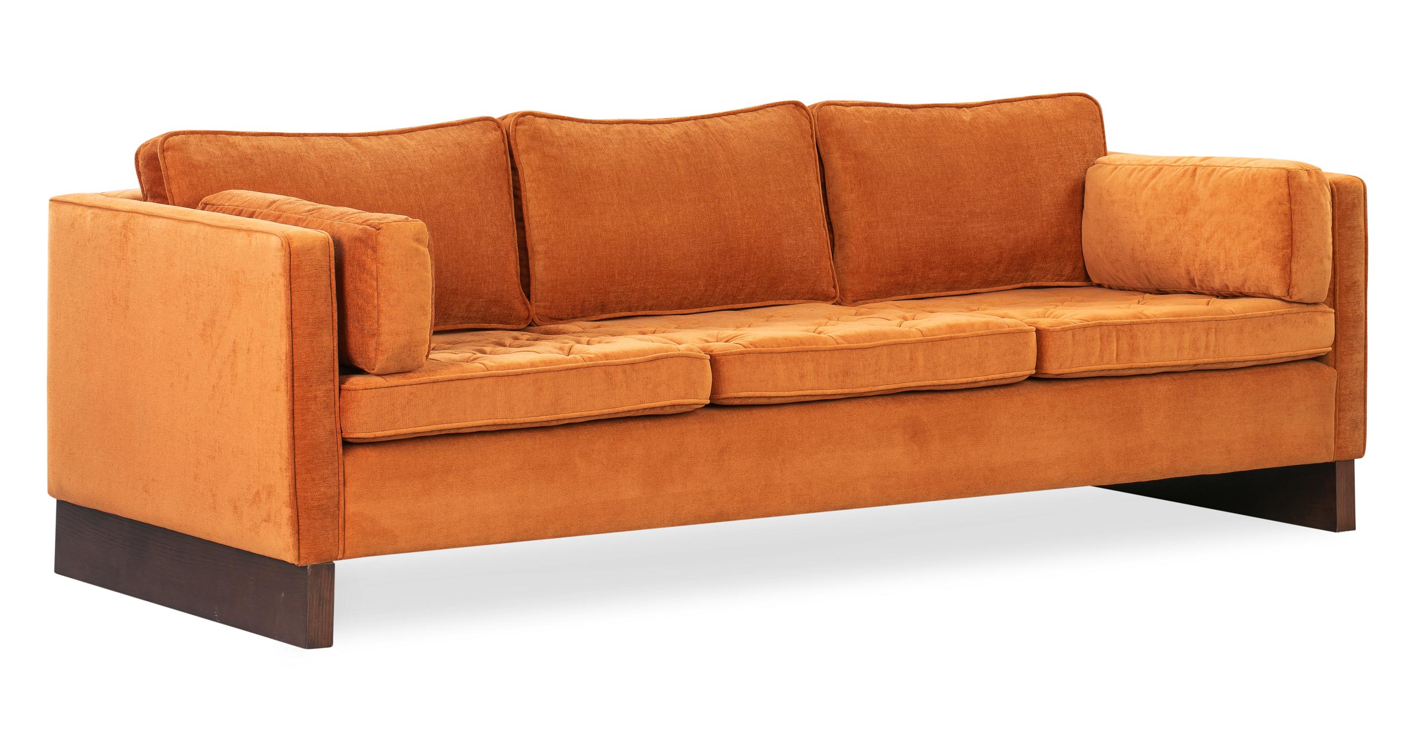 """Wexler 88"""" Fabric Sofa, Ginger Velvet"""