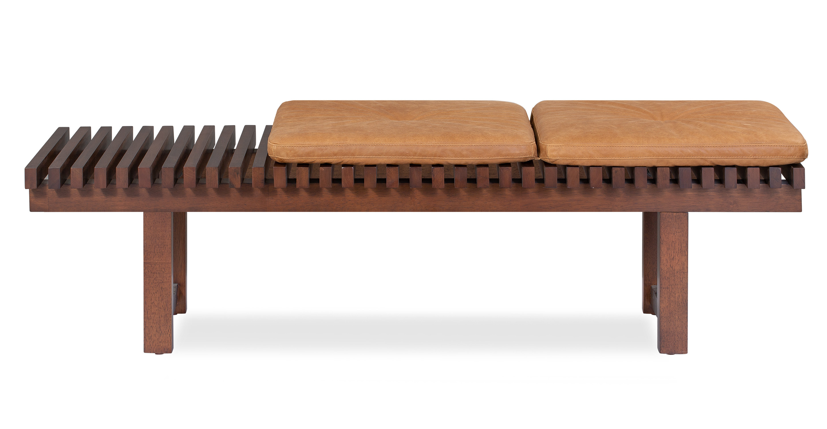 "Slat 42"" Leather Bench, Russet Top Grain Full Aniline Leather"