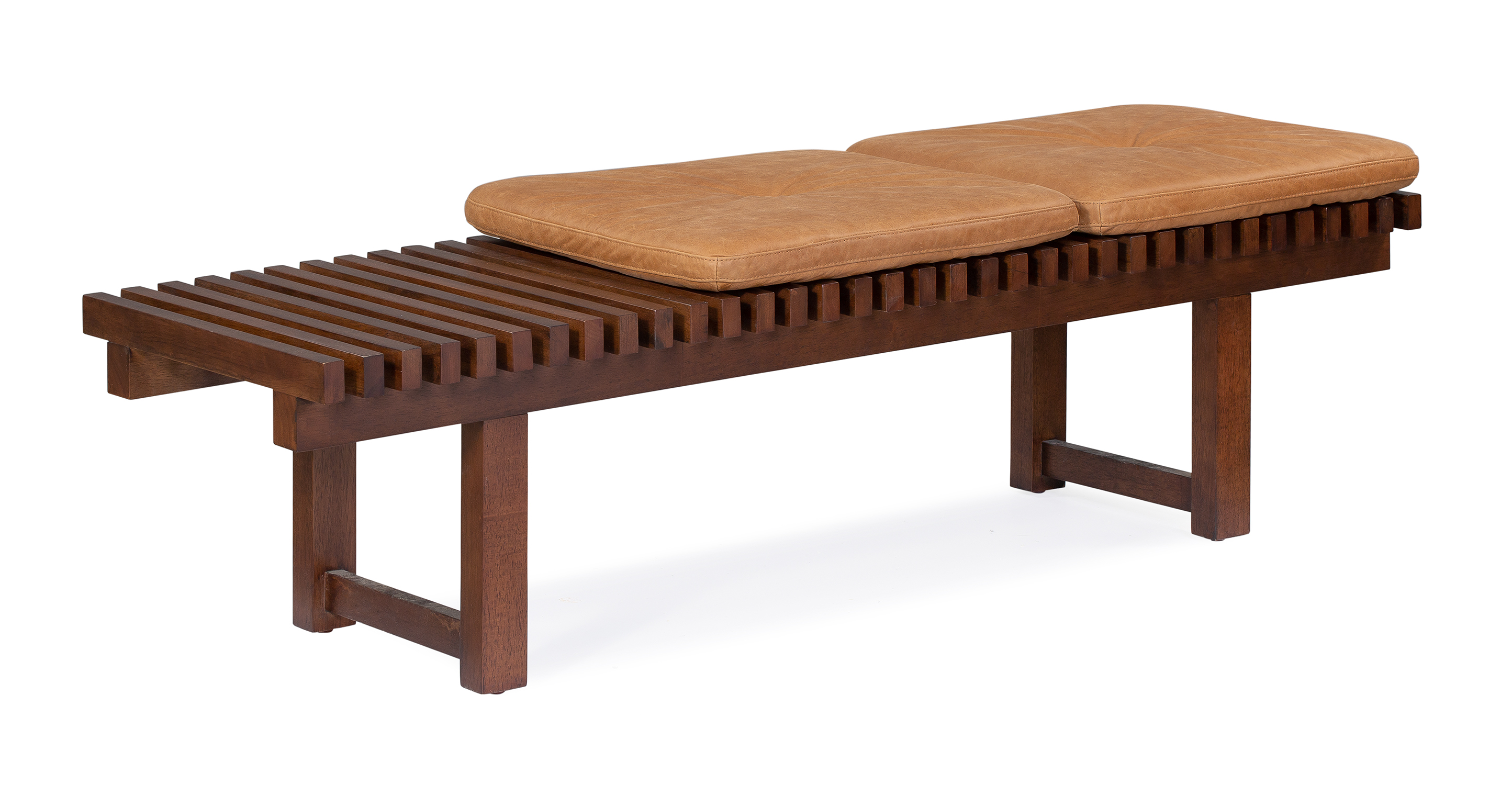 "Slat 59"" Leather Bench, Milano Russet"