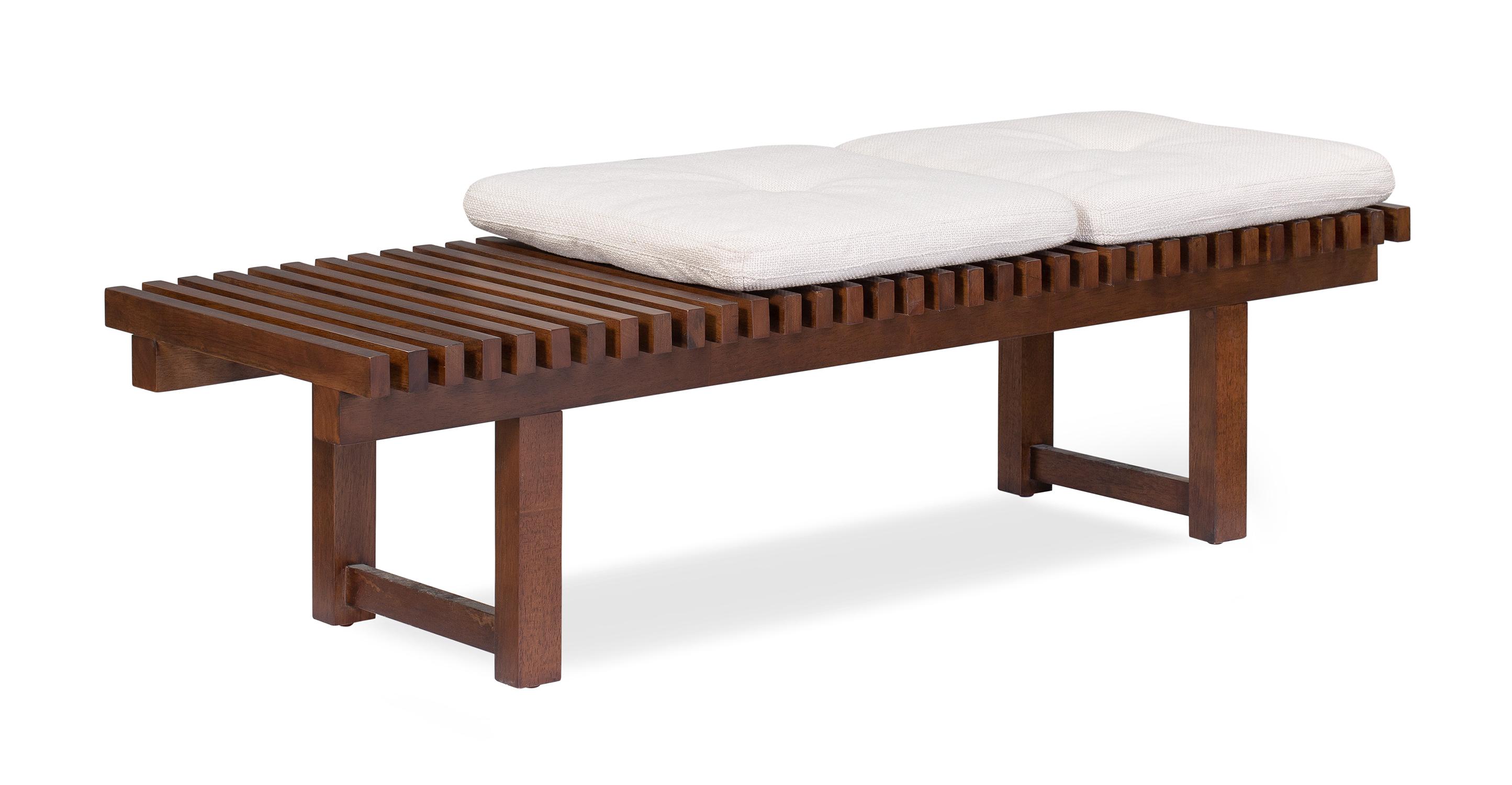 "Slat 59"" Fabric Bench, Walnut/Pearl"