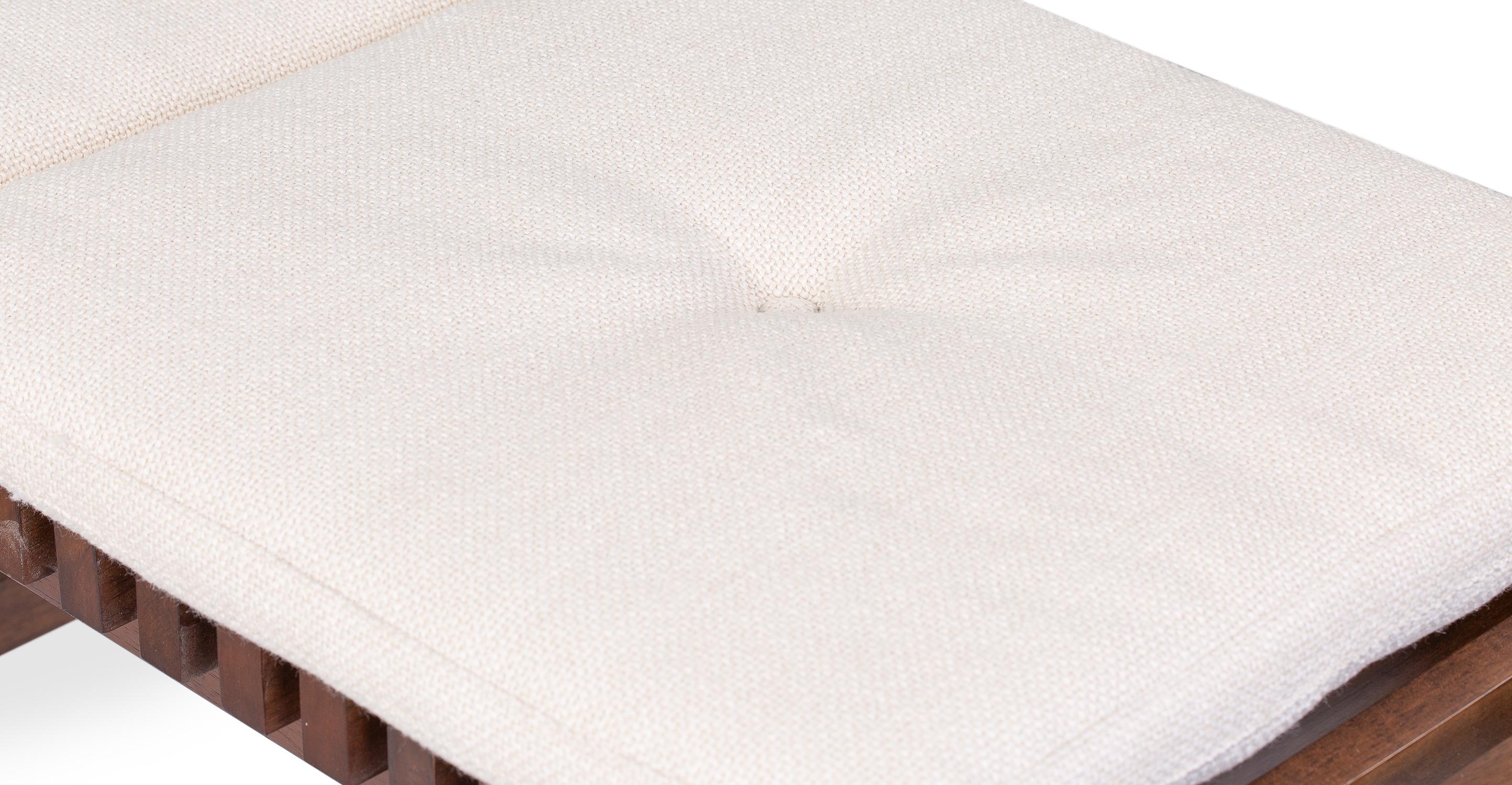 "Slat 42"" Fabric Bench, Pearl"