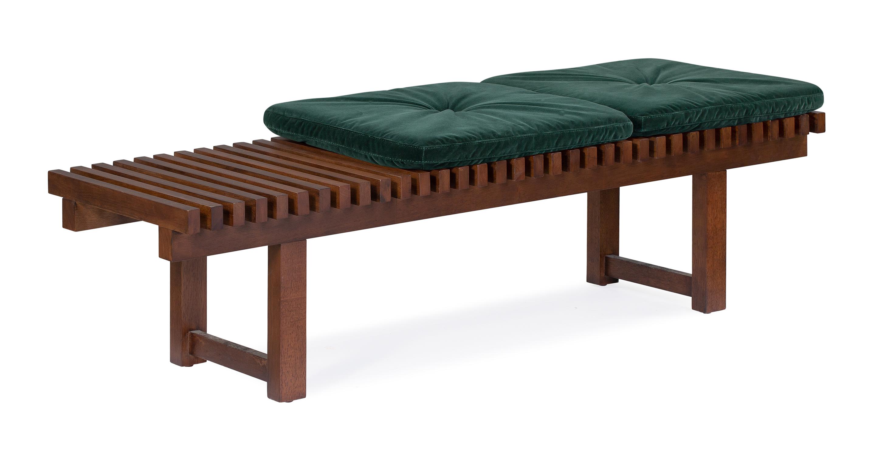 "Slat 59"" Fabric Bench, Walnut/Emerald Velvet"