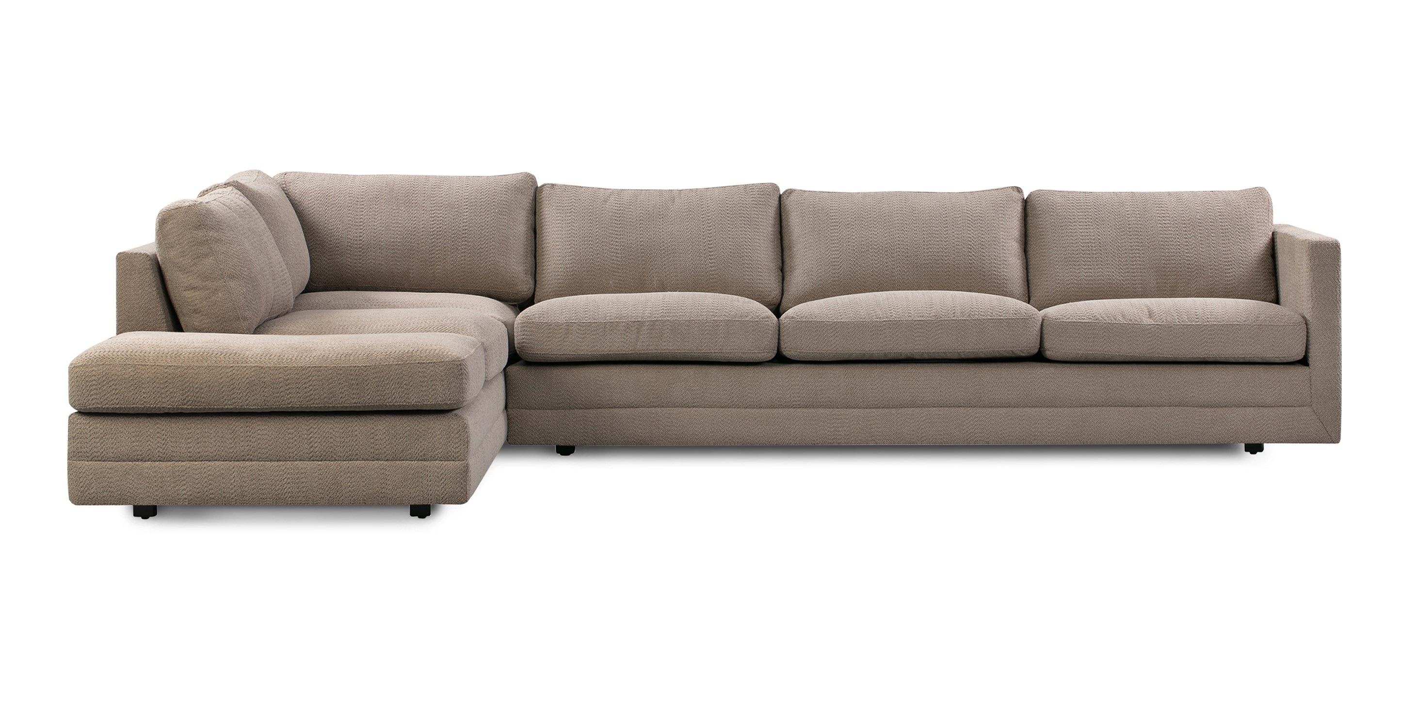 "Manhattan 129"" Fabric Sofa Sectional Left, Mushroom Atomic"