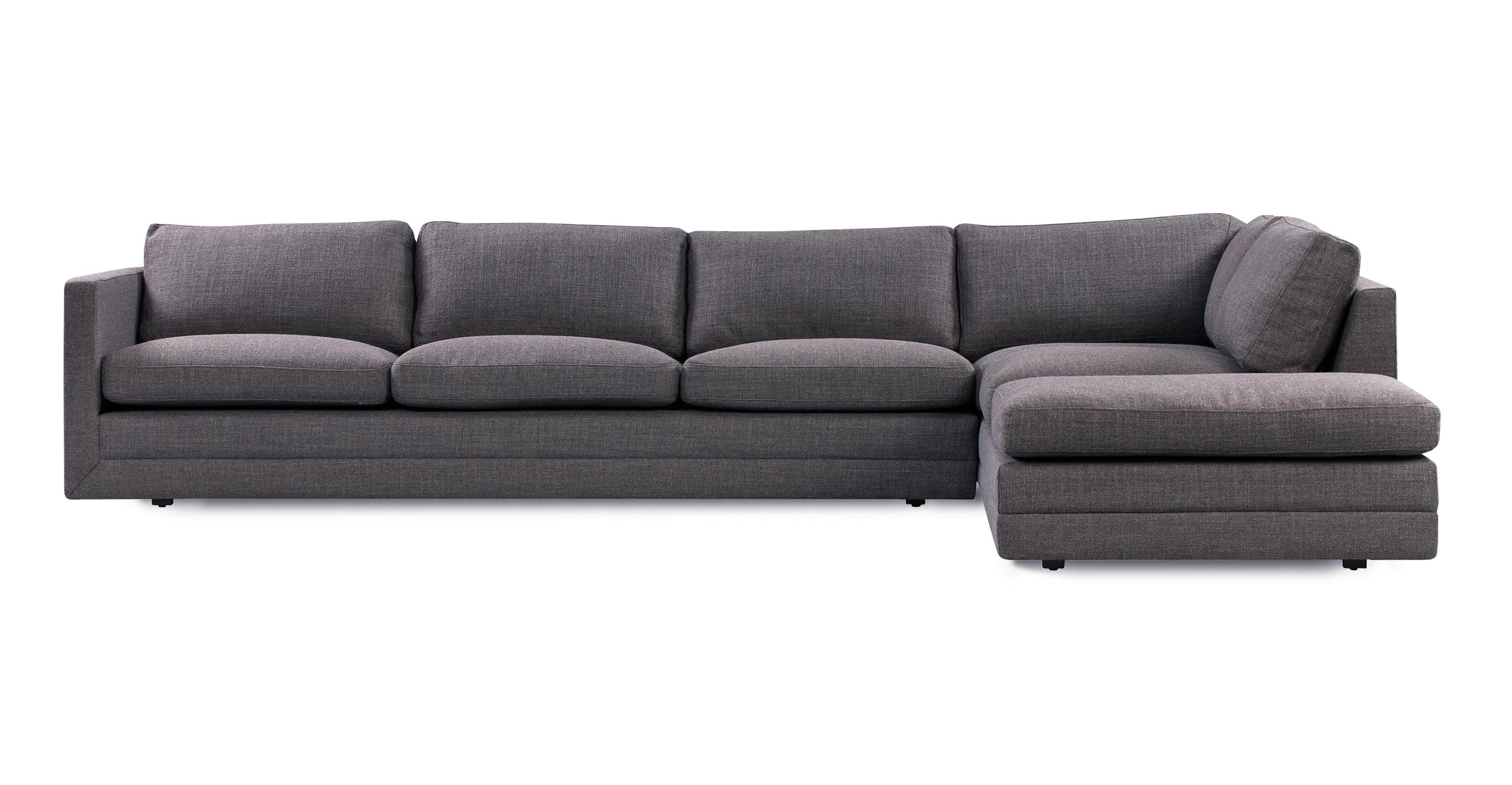 """Manhattan 129"""" Fabric Sofa Sectional Right, Elyx Dior Grey"""
