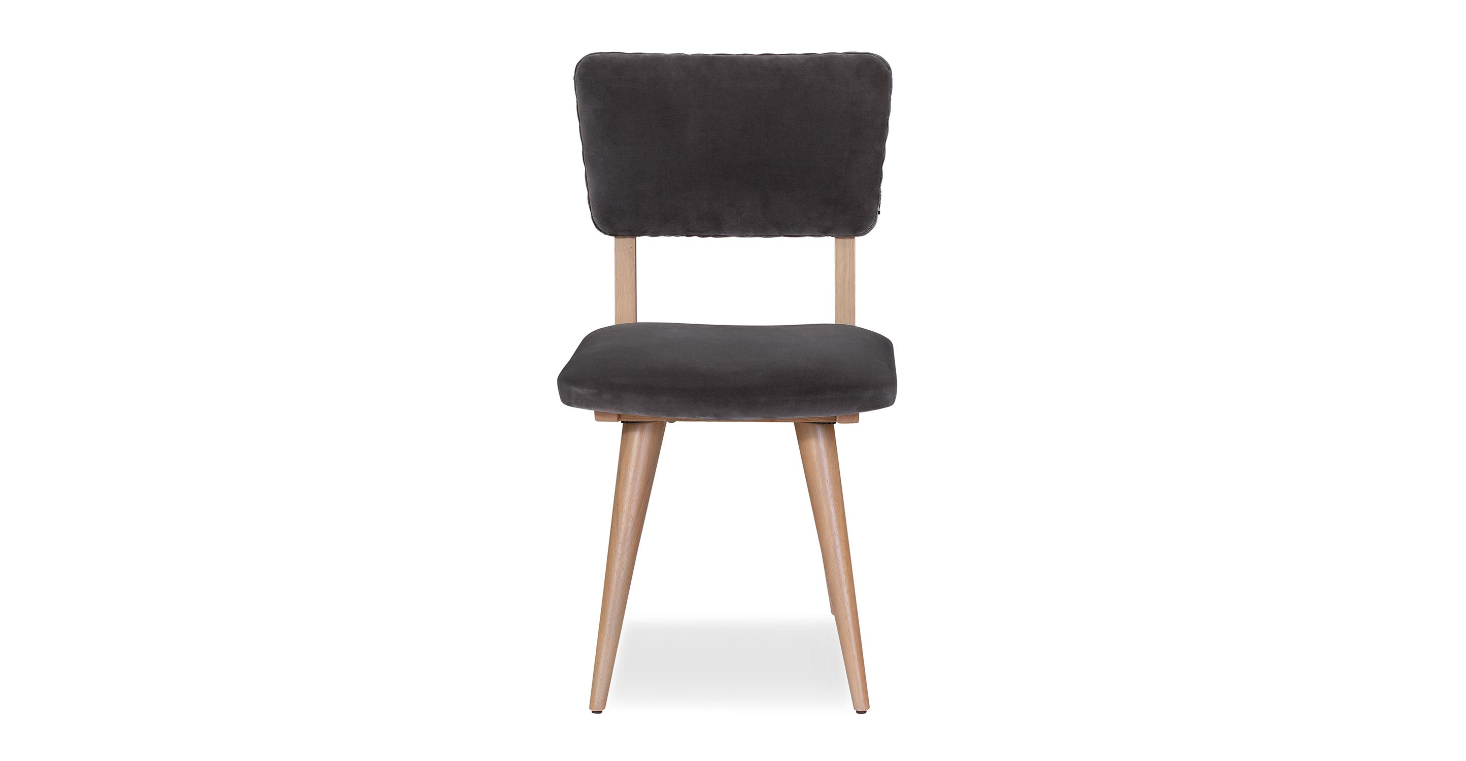 """Boomer 19"""" 2-Pc Set Fabric Dining Chair, Obsidian Velvet"""