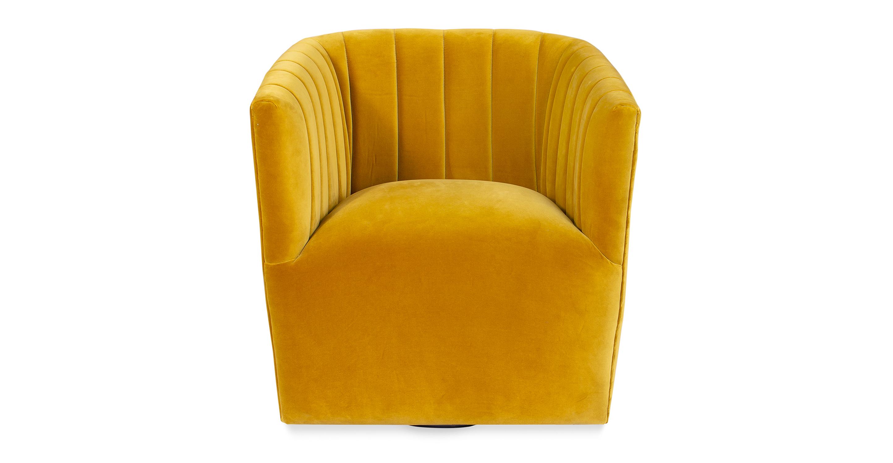 """Tubby 30"""" Swivel Chair, Glimmer Velvet"""