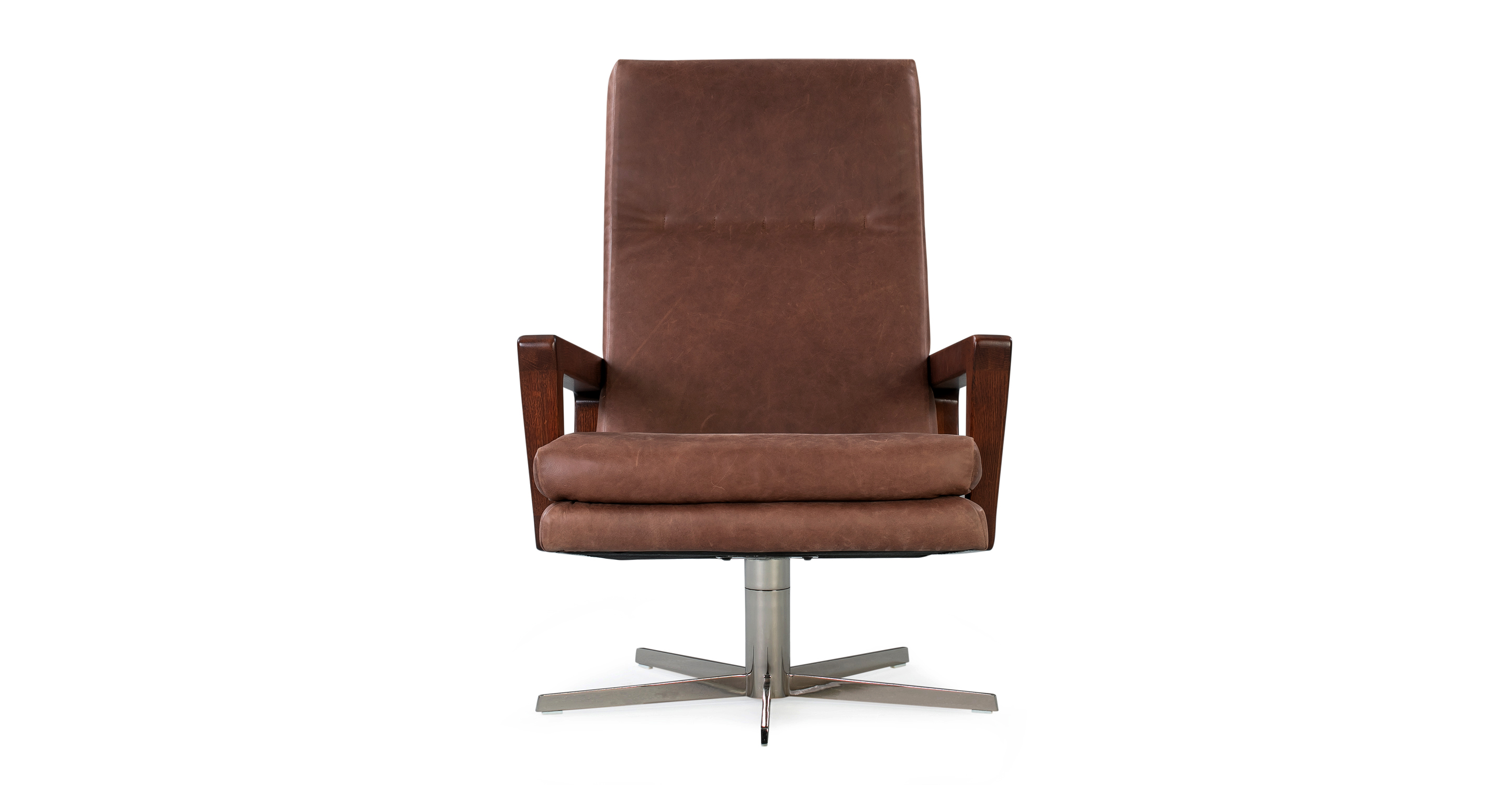 "Winston Swivel 30"" Leather Chair, Milano Mocha"
