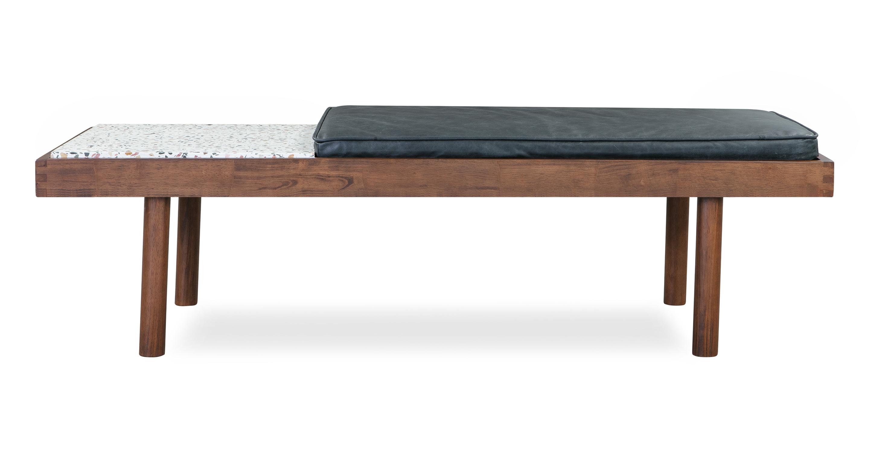 """Teraz 59"""" Leather Bench, Walnut/Milano Black"""