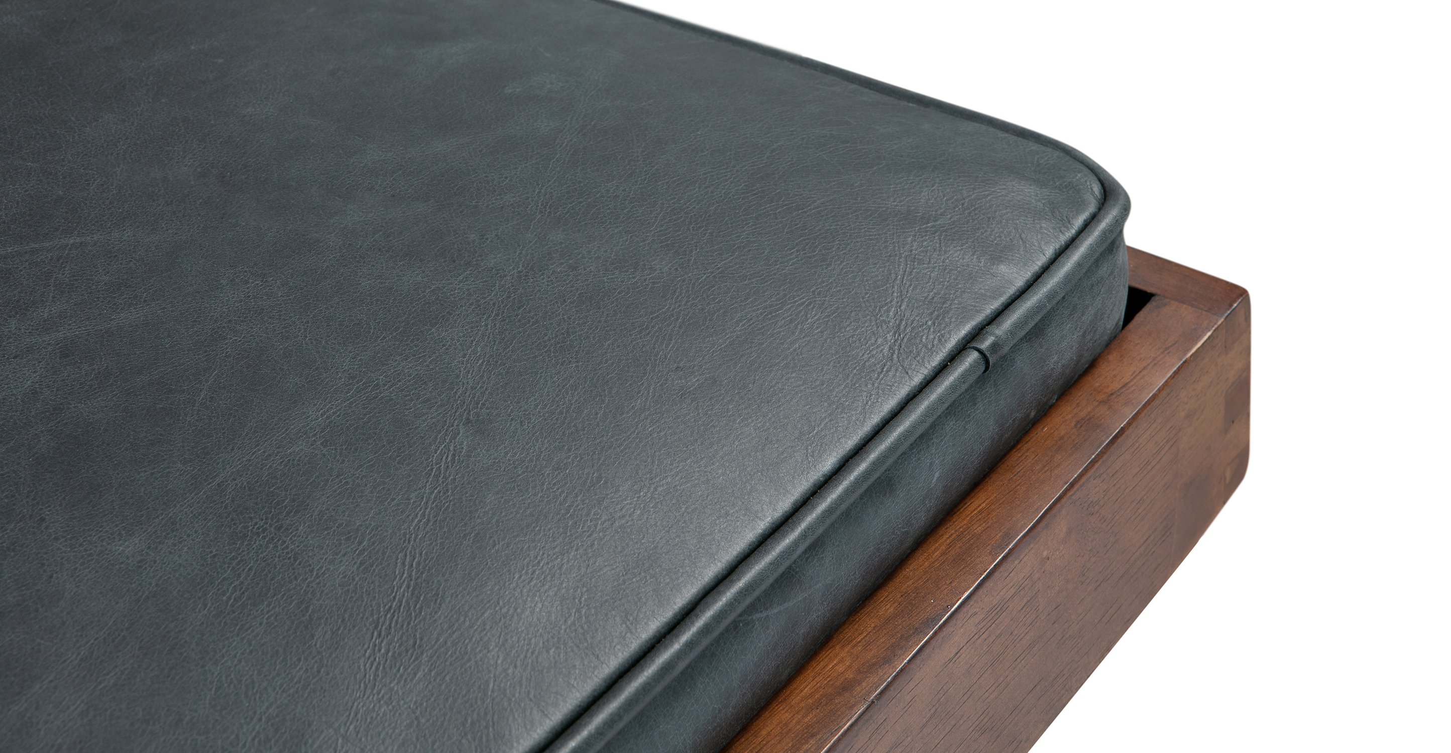 "Teraz 59"" Leather Bench, Black Full Grain Aniline"