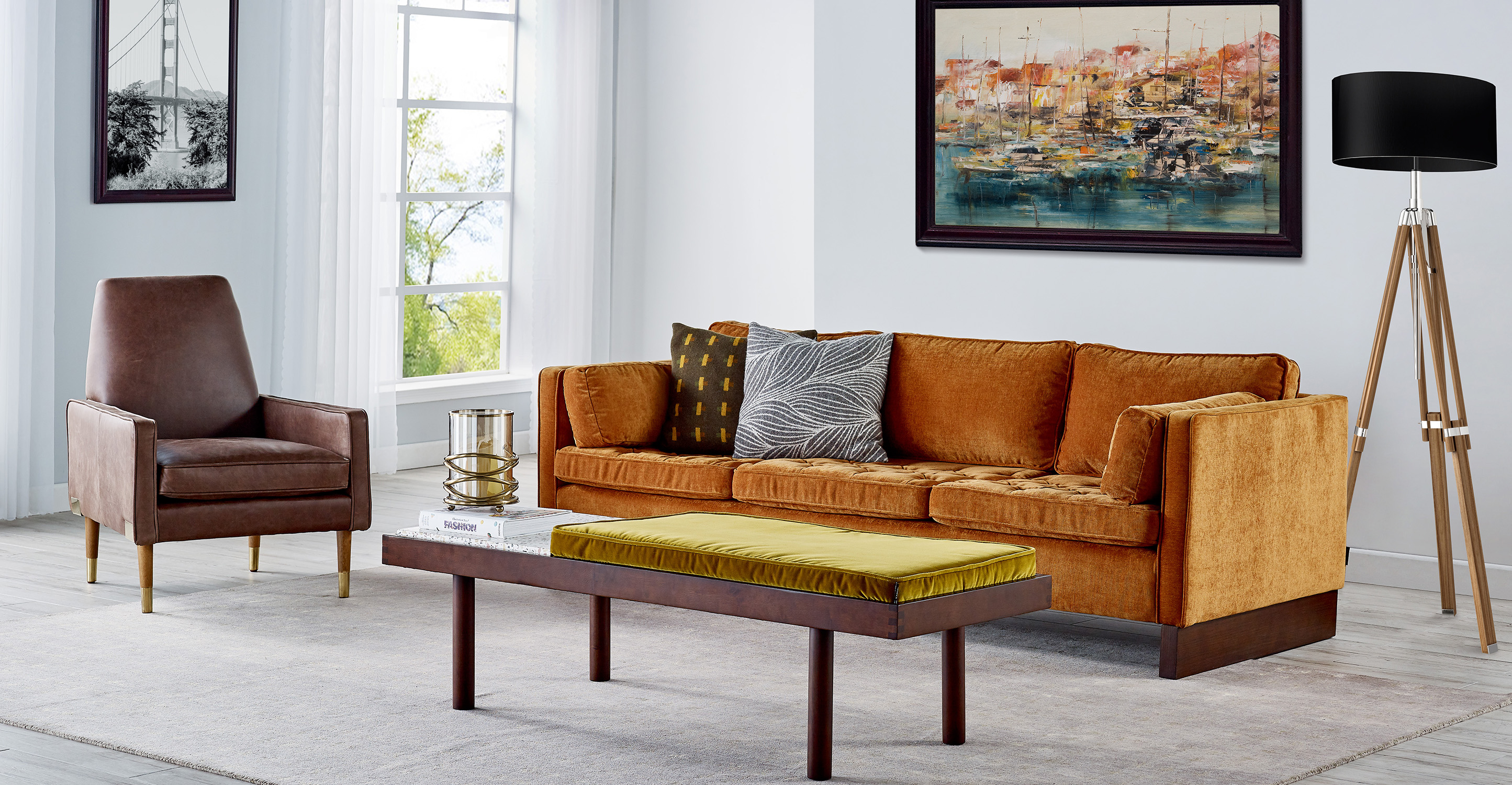 """Teraz 59"""" Leather Bench, Russet Top Grain Full  Aniline"""