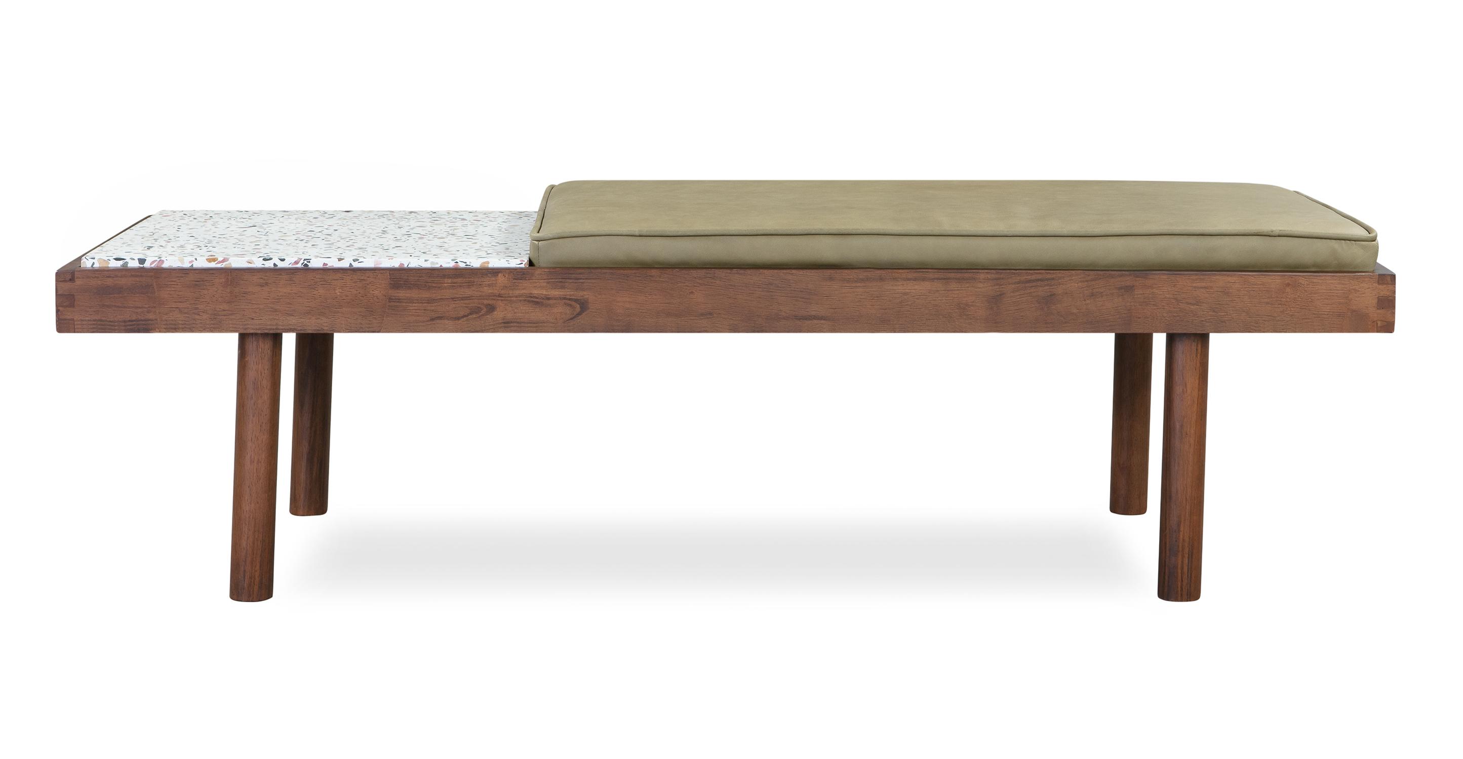 "Teraz 59"" Leather Bench, Walnut/Verona Olive"