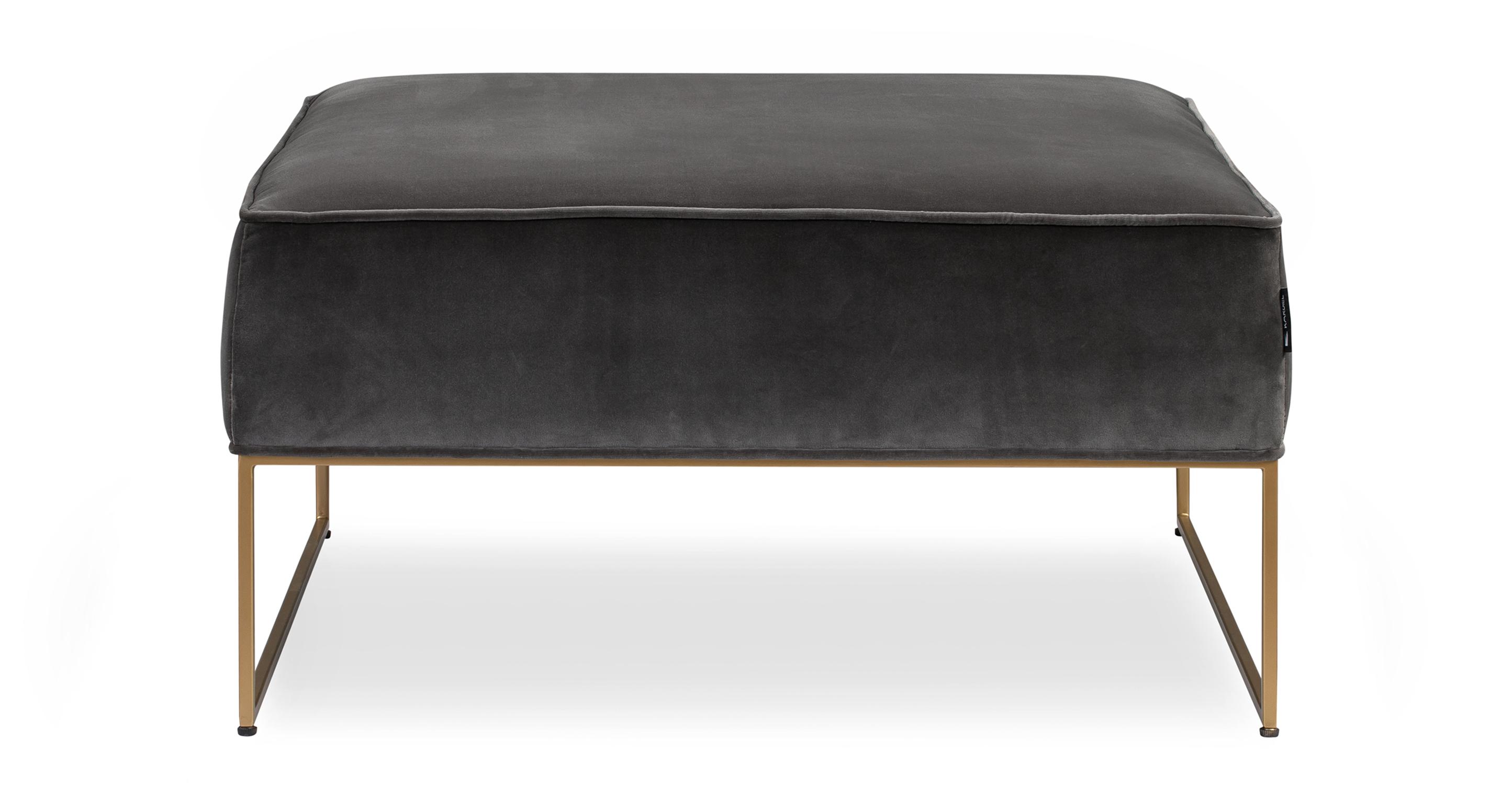 """Bumper 33"""" Fabric Ottoman, Obsidian Velvet"""