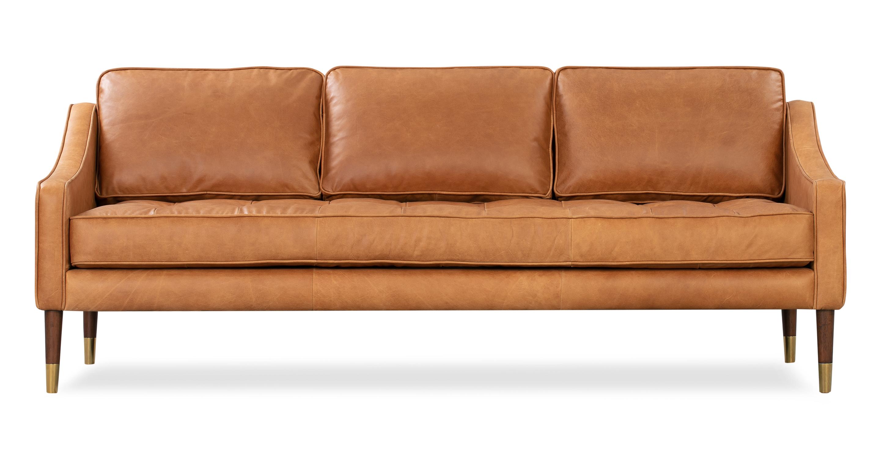 "Brando 74"" Leather Sofa, Milano Russett"