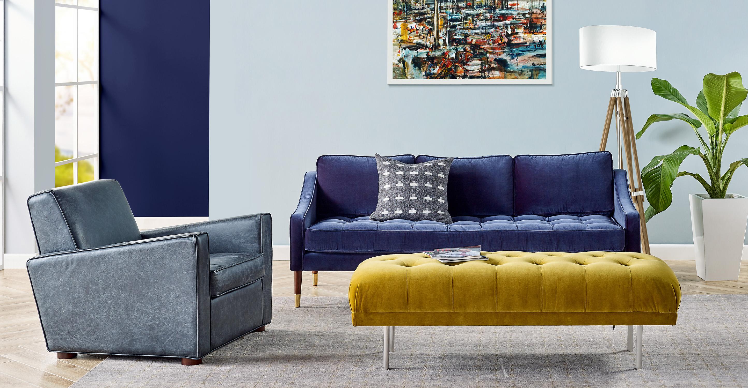 """Brando 74"""" Fabric Sofa, Kaffir Velvet"""