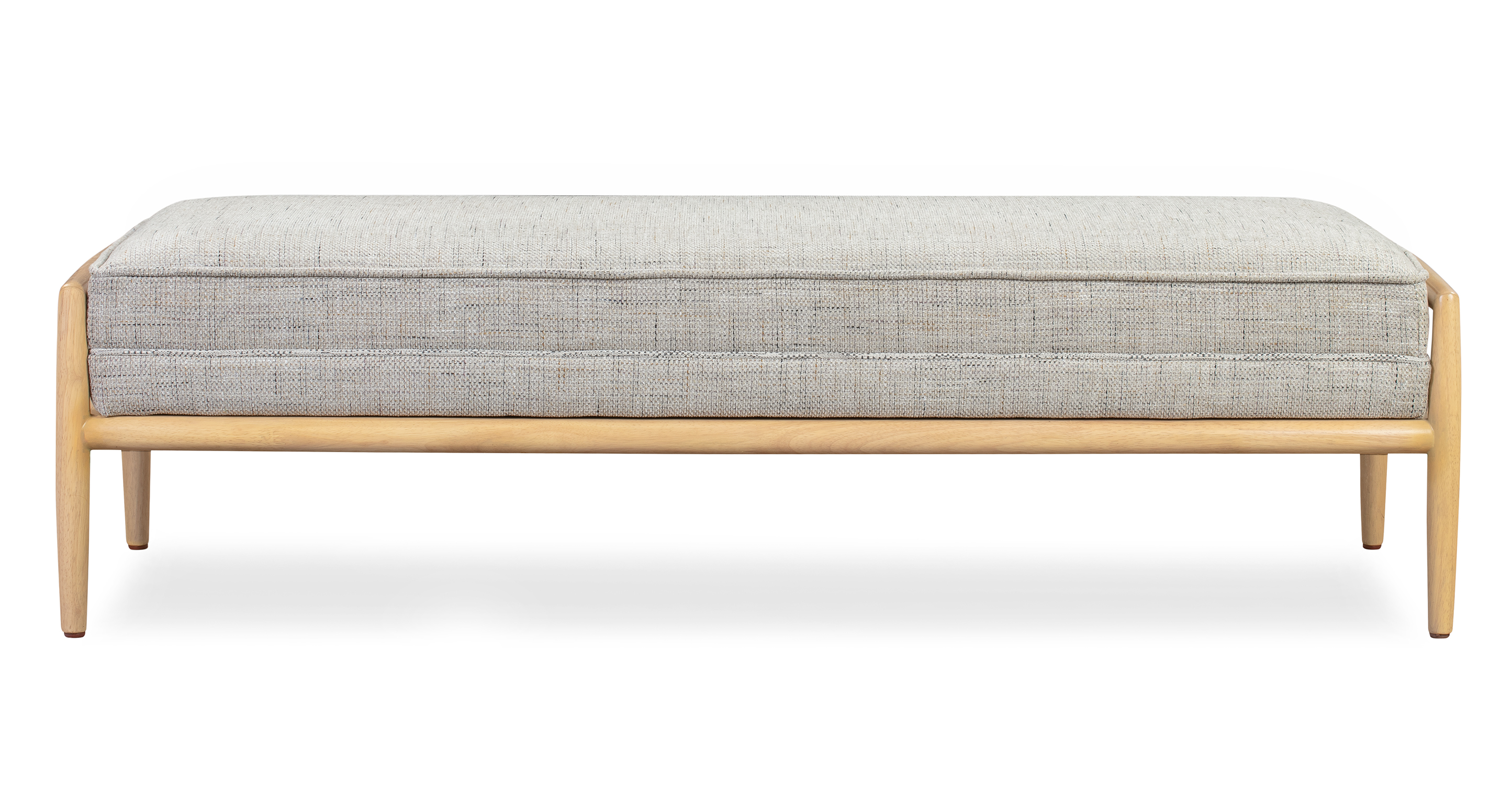 "Fritz 55"" Fabric Bench, Natural/Hessian Flecked"
