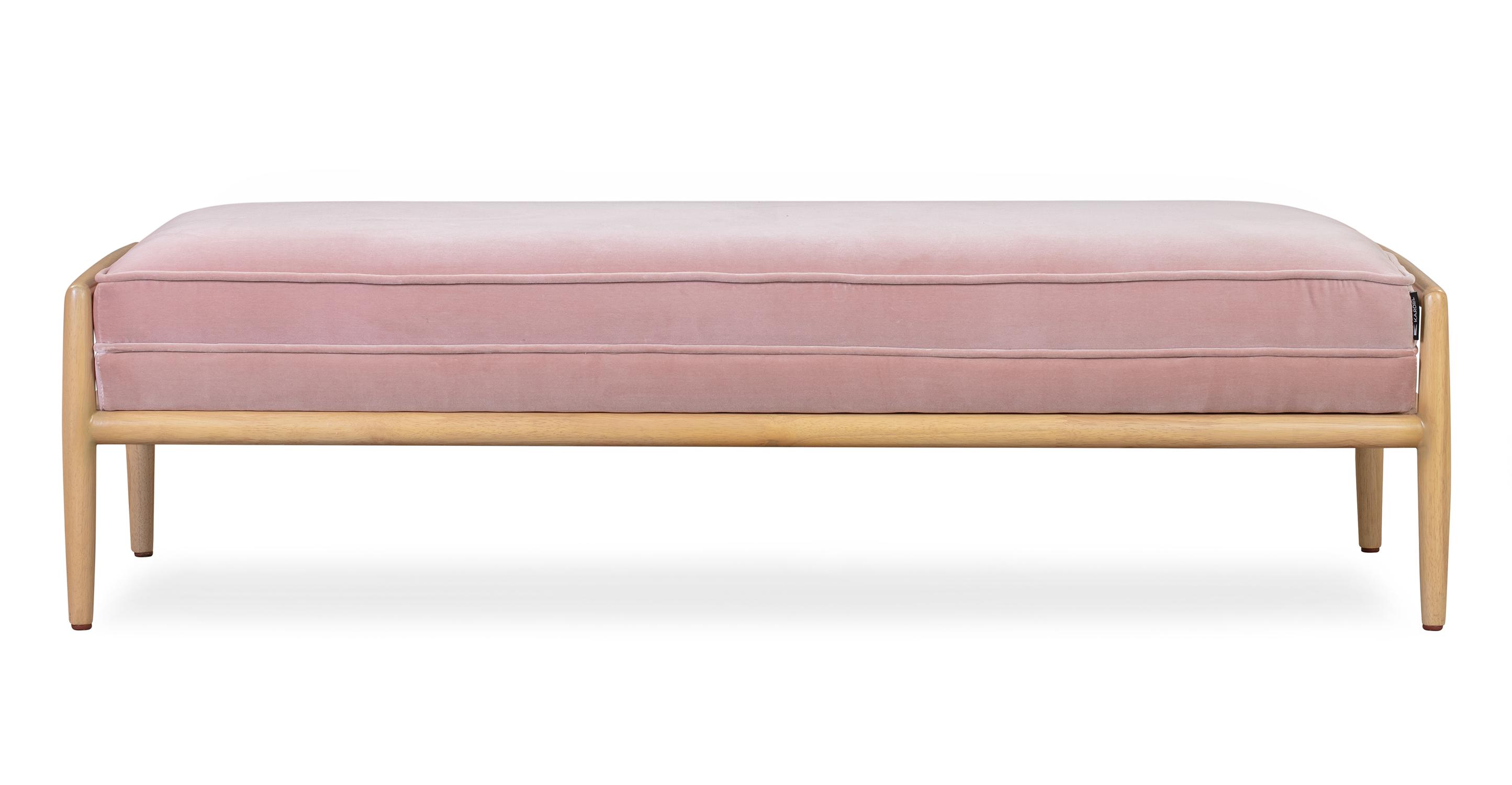 """Fritz 55"""" Fabric Bench, Natural/Rose Velvet"""