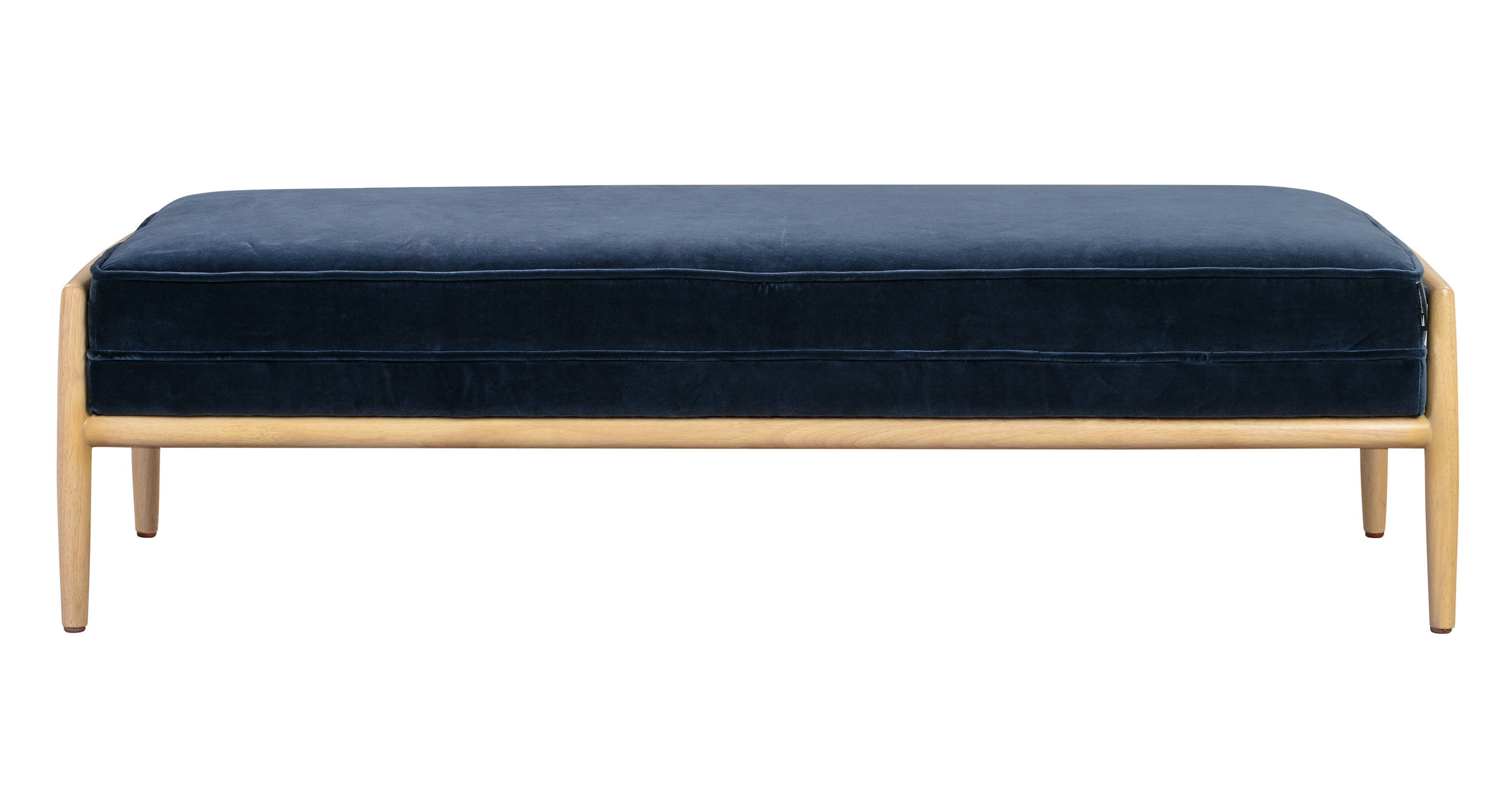"Fritz 55"" Fabric Bench, Natural/Admiral Velvet"
