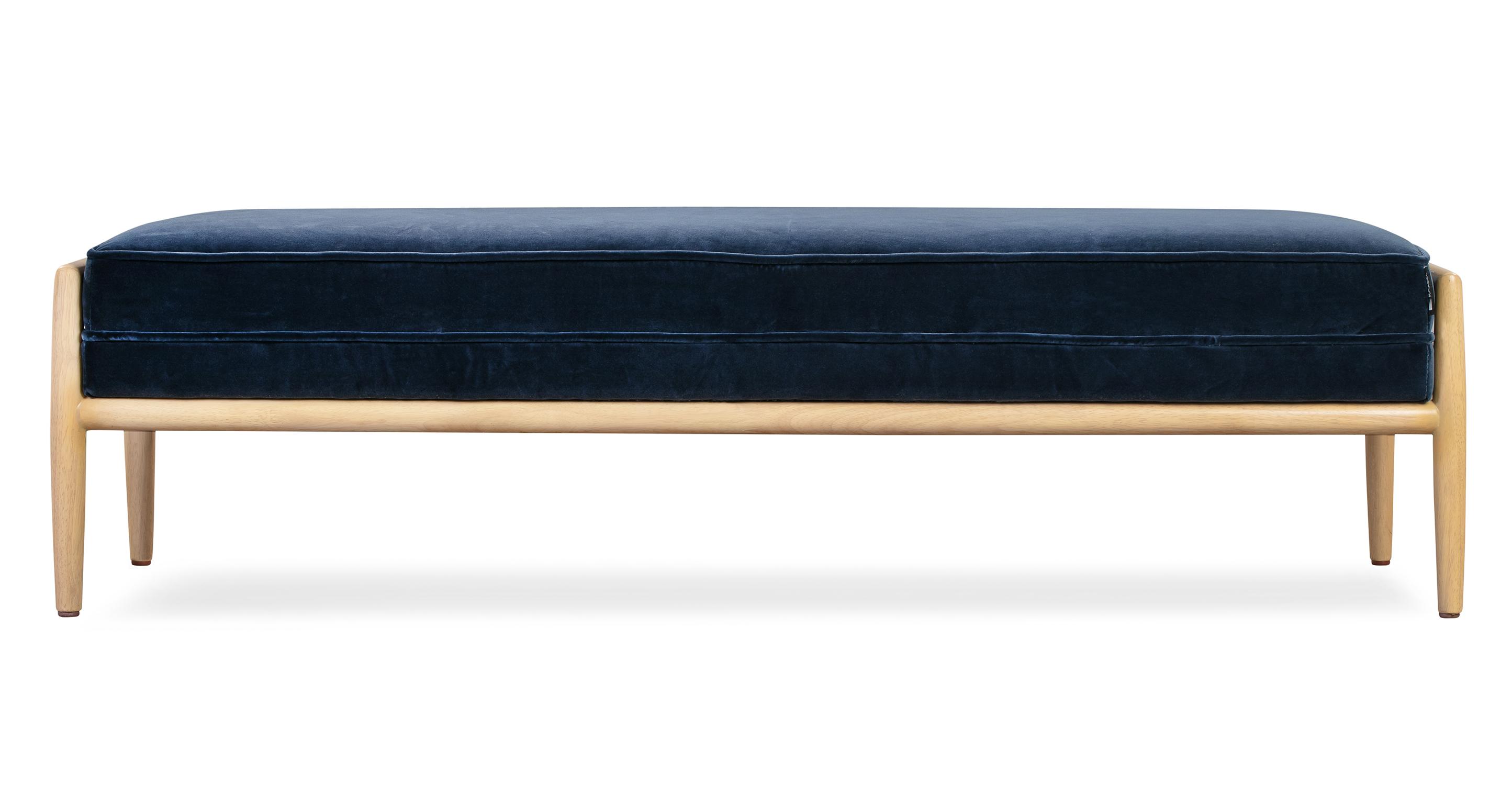 """Fritz 55"""" Fabric Bench, Admiral Velvet"""