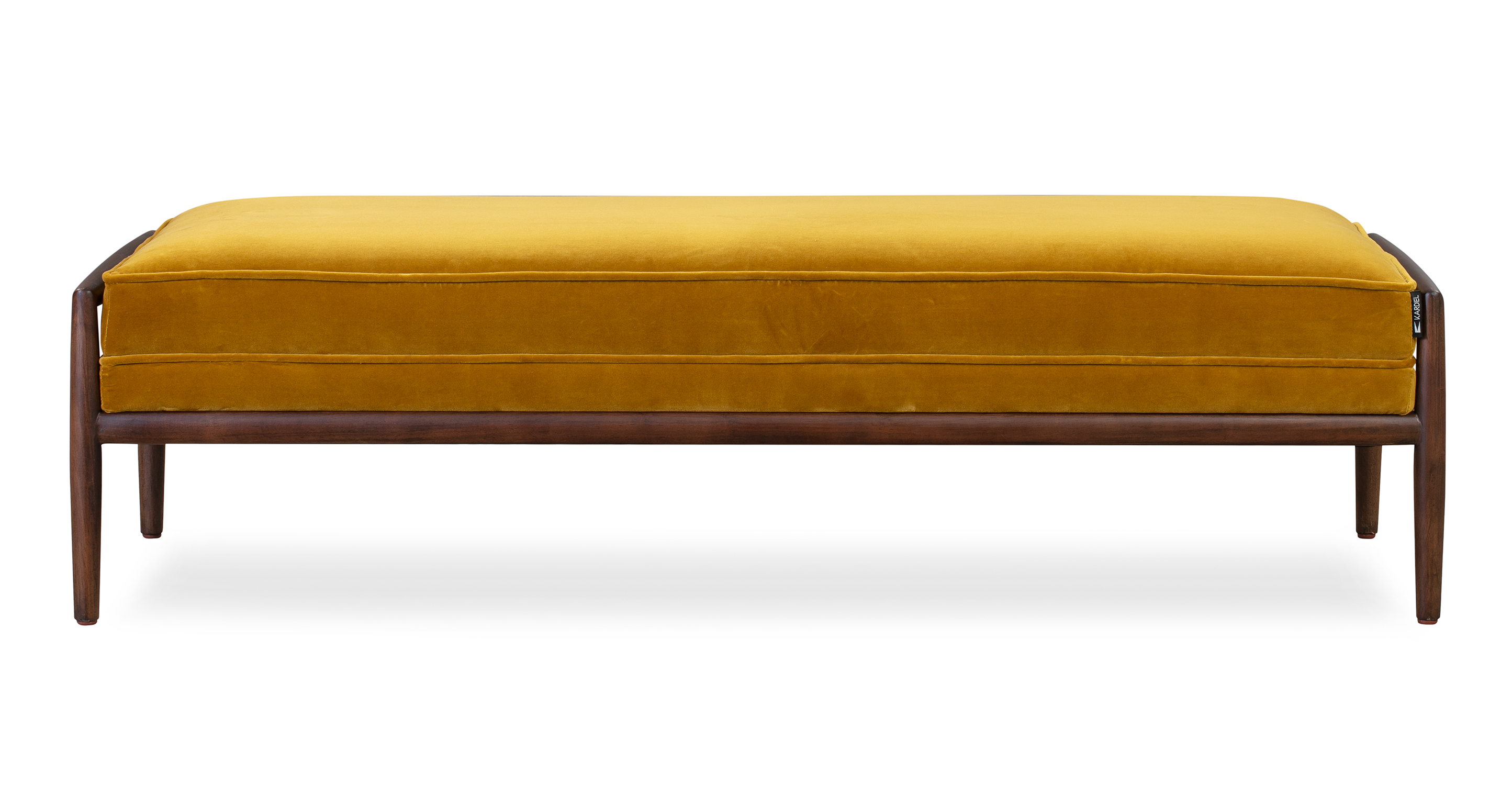 """Fritz 55"""" Fabric Bench, Walnut/Glimmer Velvet"""