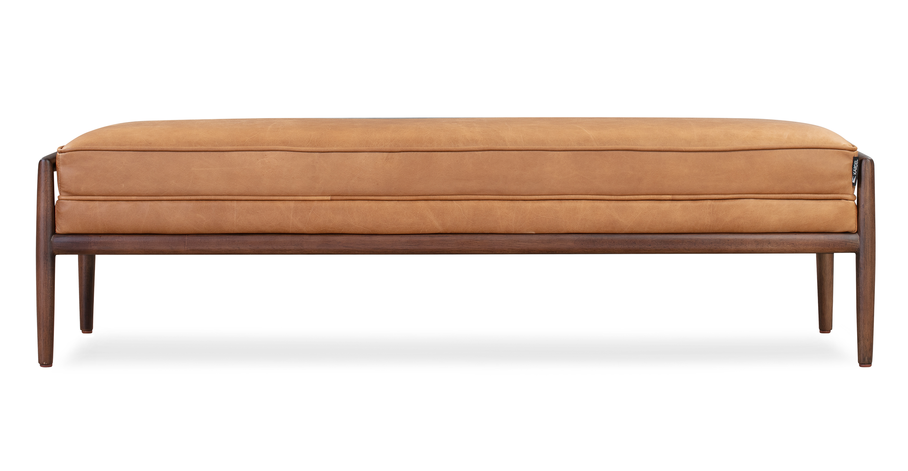 "Fritz 55"" Leather Bench, Walnut/Milano Russet"